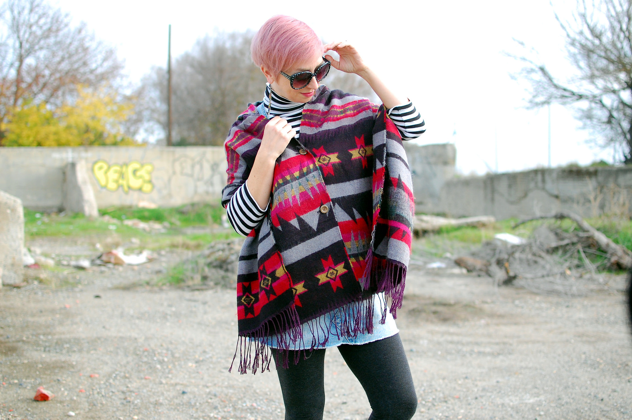pattern mix poncho how to style fashion ootd whatiwore2day