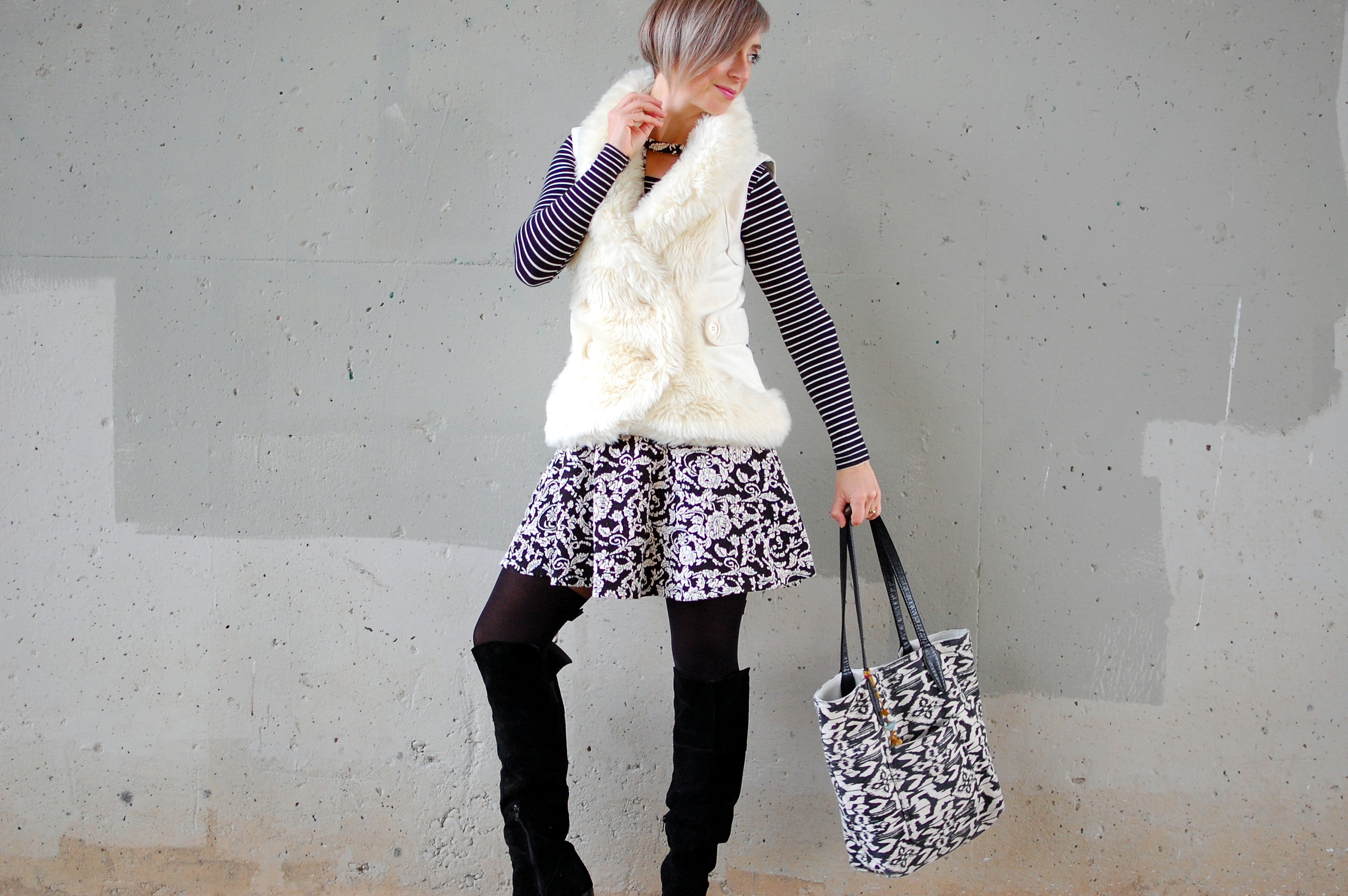 black white boots tango faux fur thrift ootd whatiwore2day