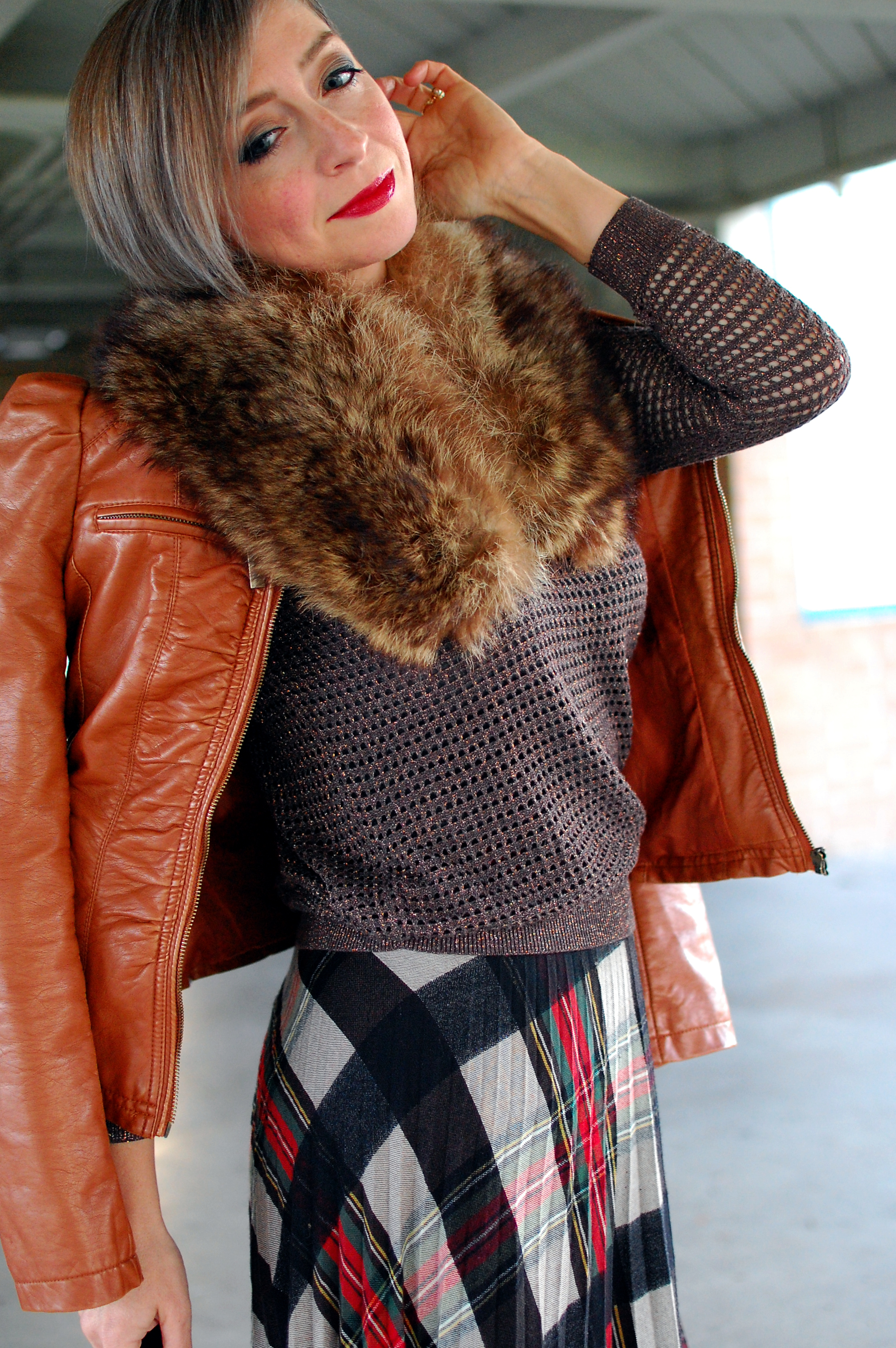 vintage fur collar pleather jacket ootd outfit