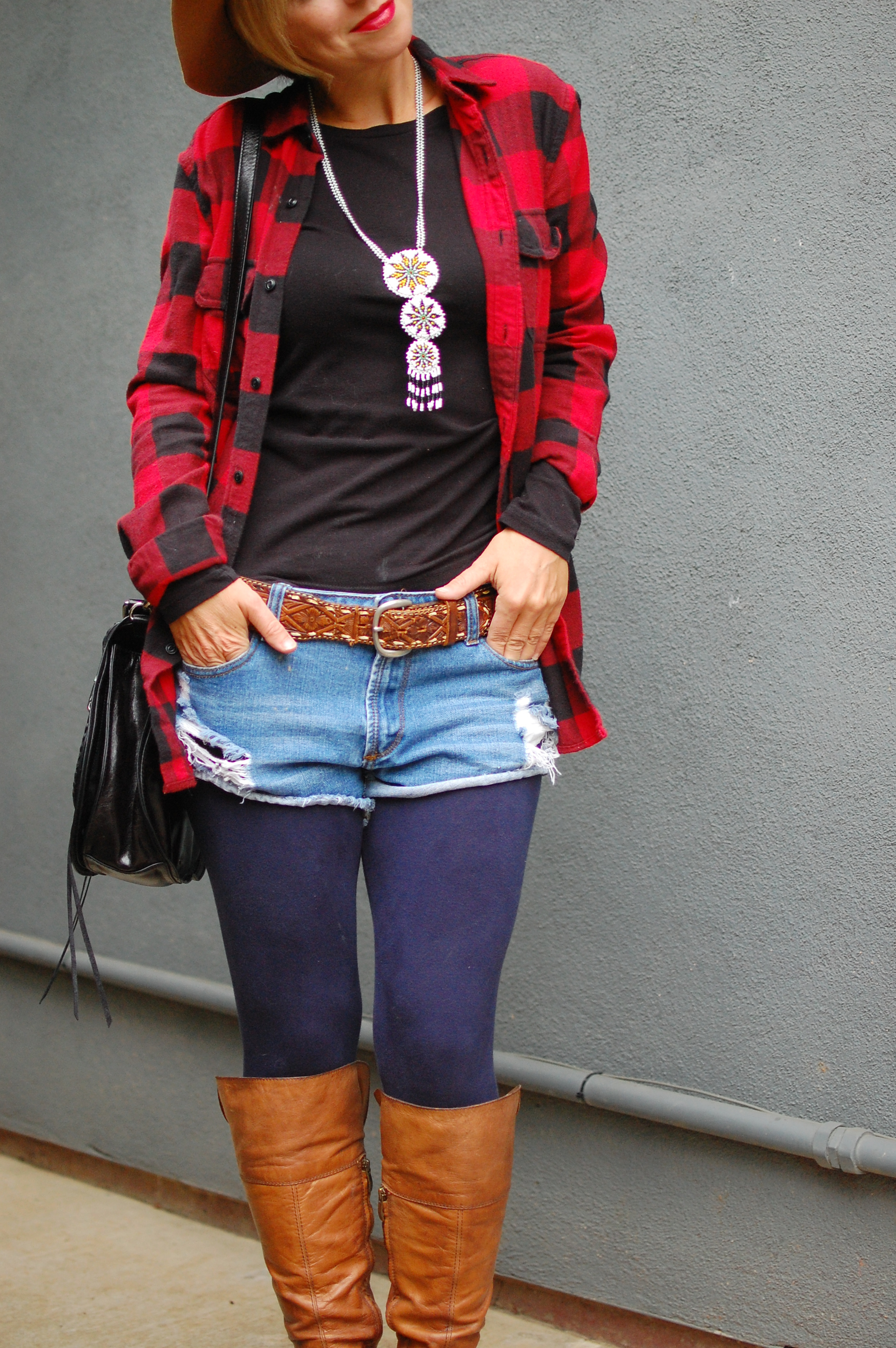 plaid cutoffs red black buffalo plaid brown