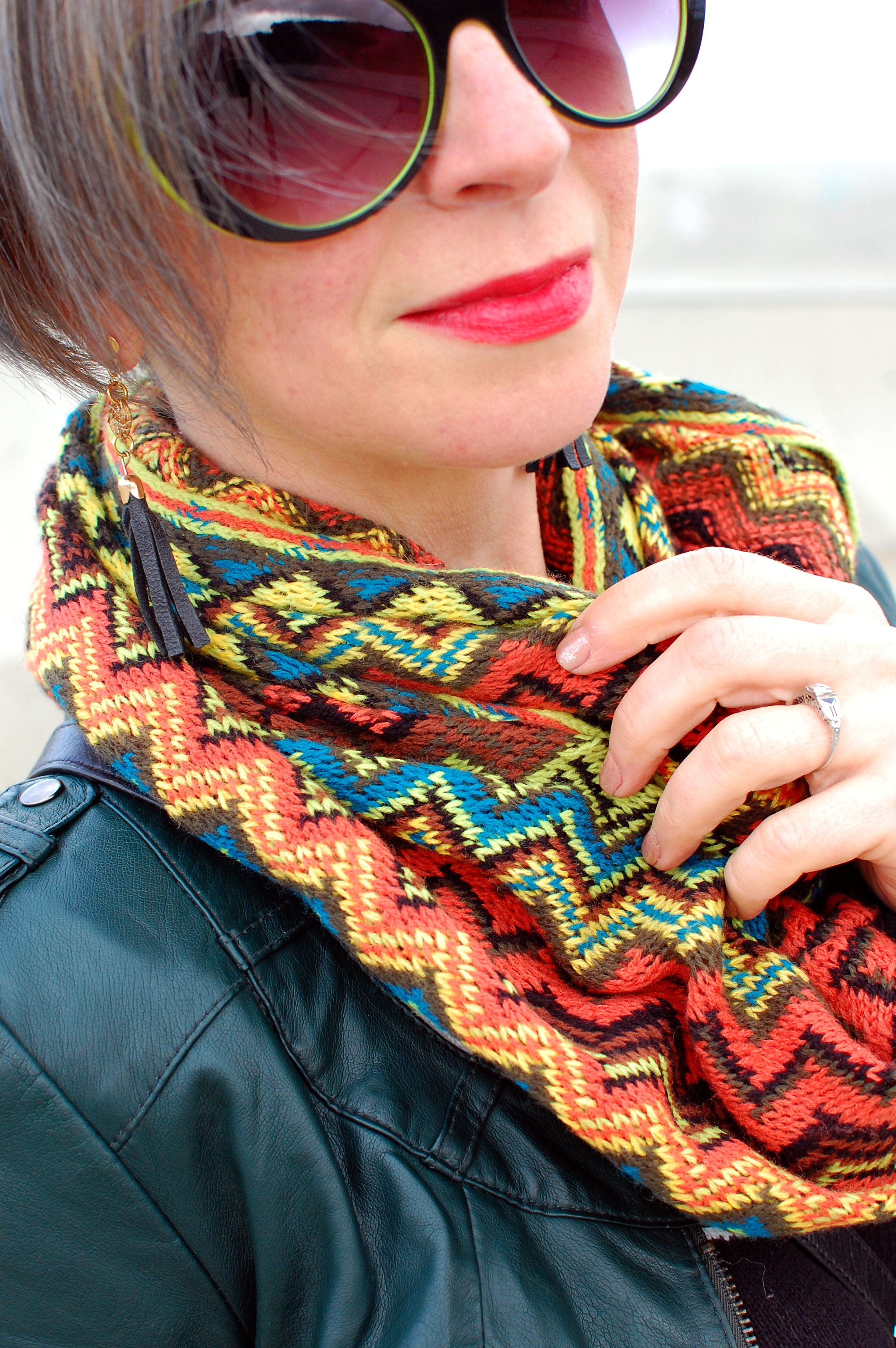 chevron scarf missoni knockoff style outfit neon leather tassel earring