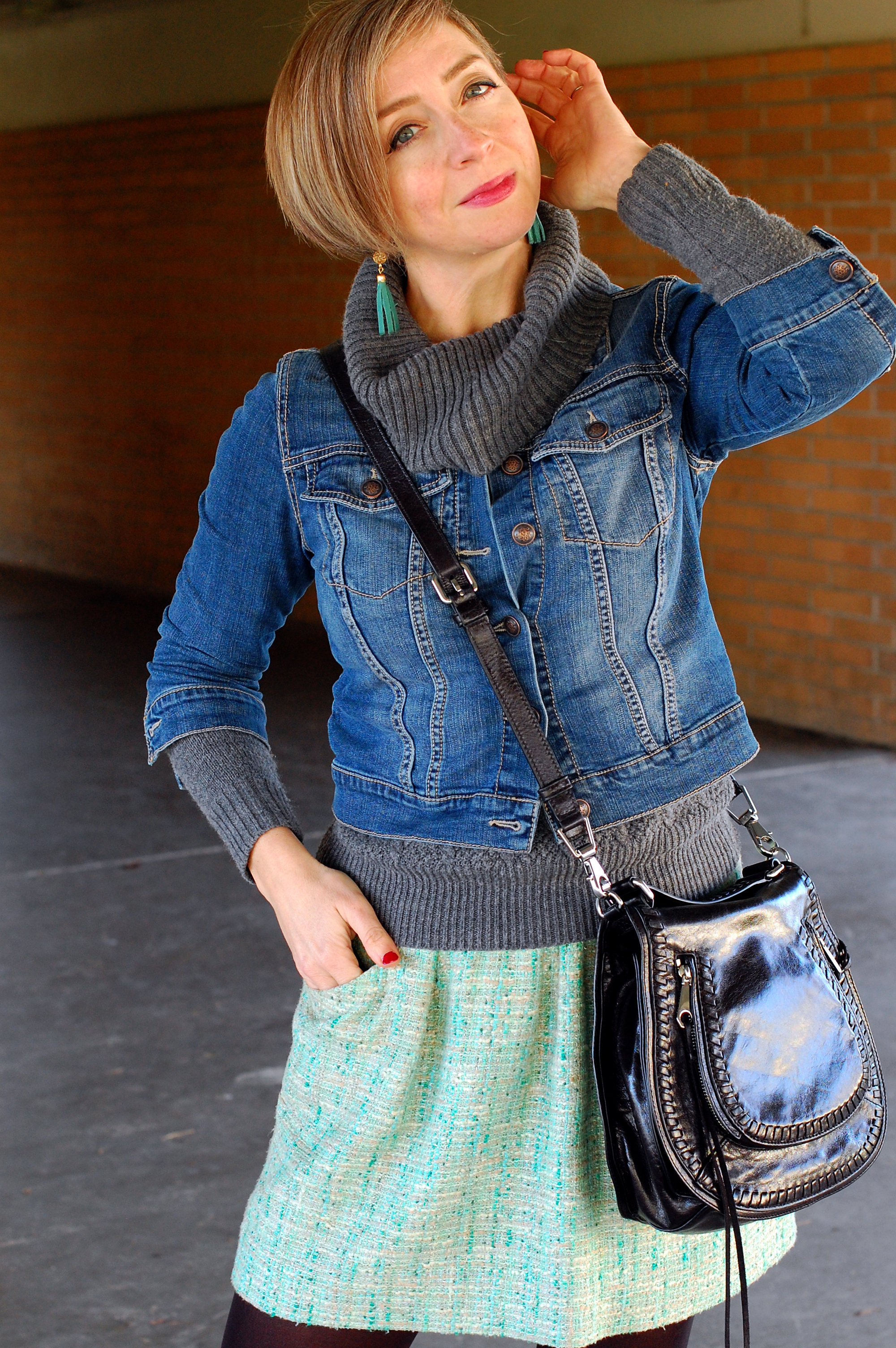 gray cowl neck mint tweed denim jacket ootd whatiwore2day style
