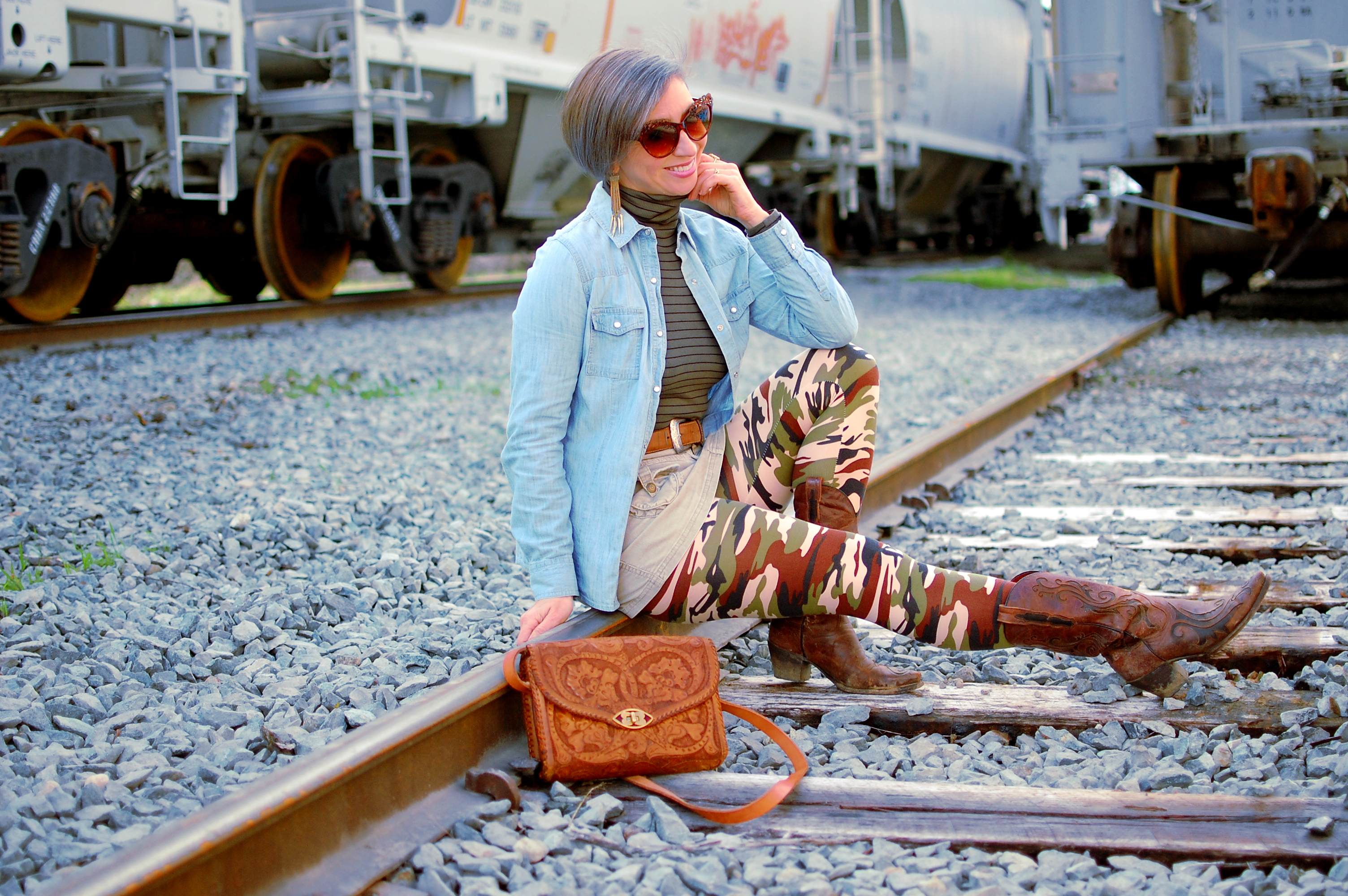 camo denim corduroy train tracks tooled leather bag ootd whatiwore2day