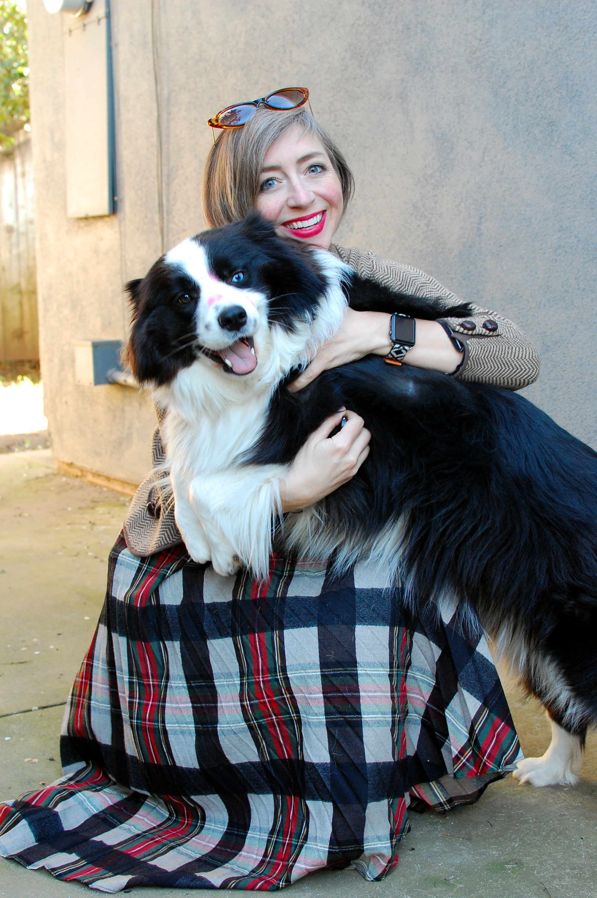 border collie plaid skirt ootd whatiwore2day