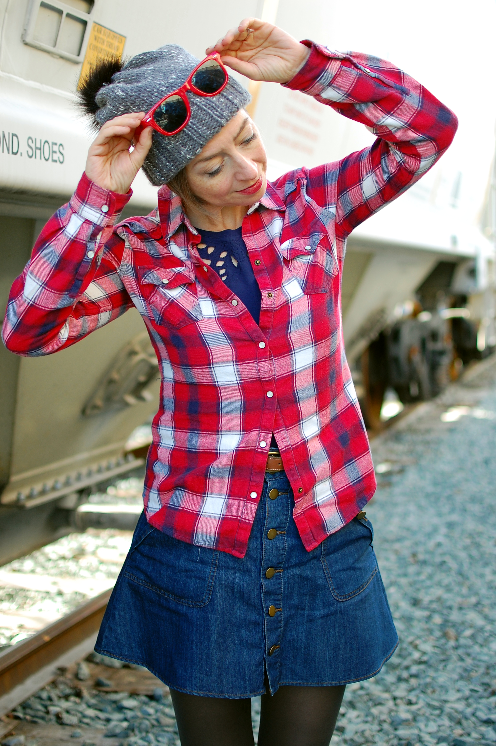 plaid outfit pompom beanie ootd whatiwore2day red navy