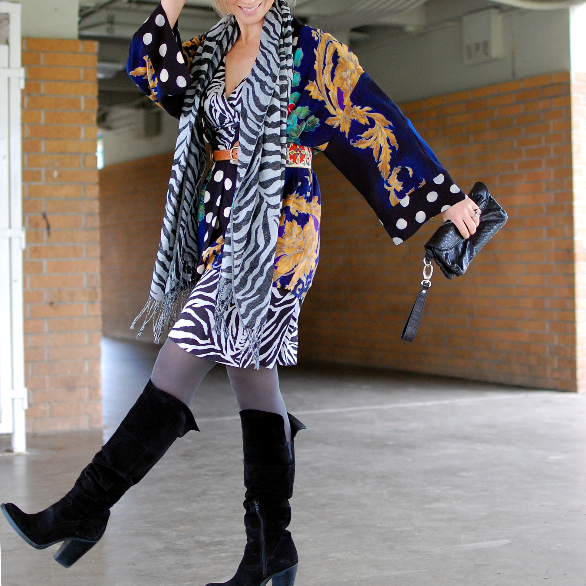 pattern mix zebra polka dot floral kimono ootd whatiwore2day business creative