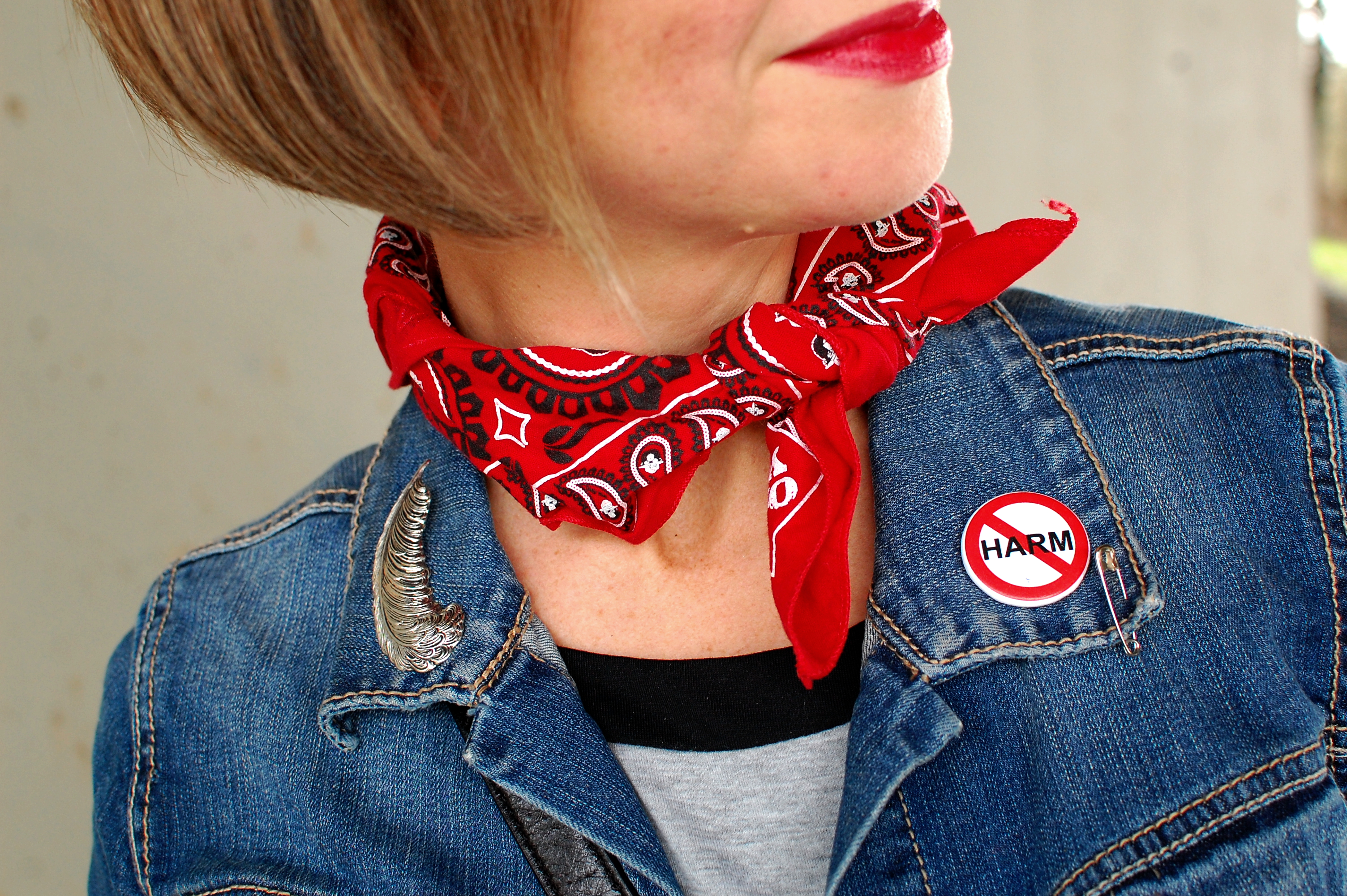 bandana neckerchief smokey the bear red denim jacket ootd whatiwore2day