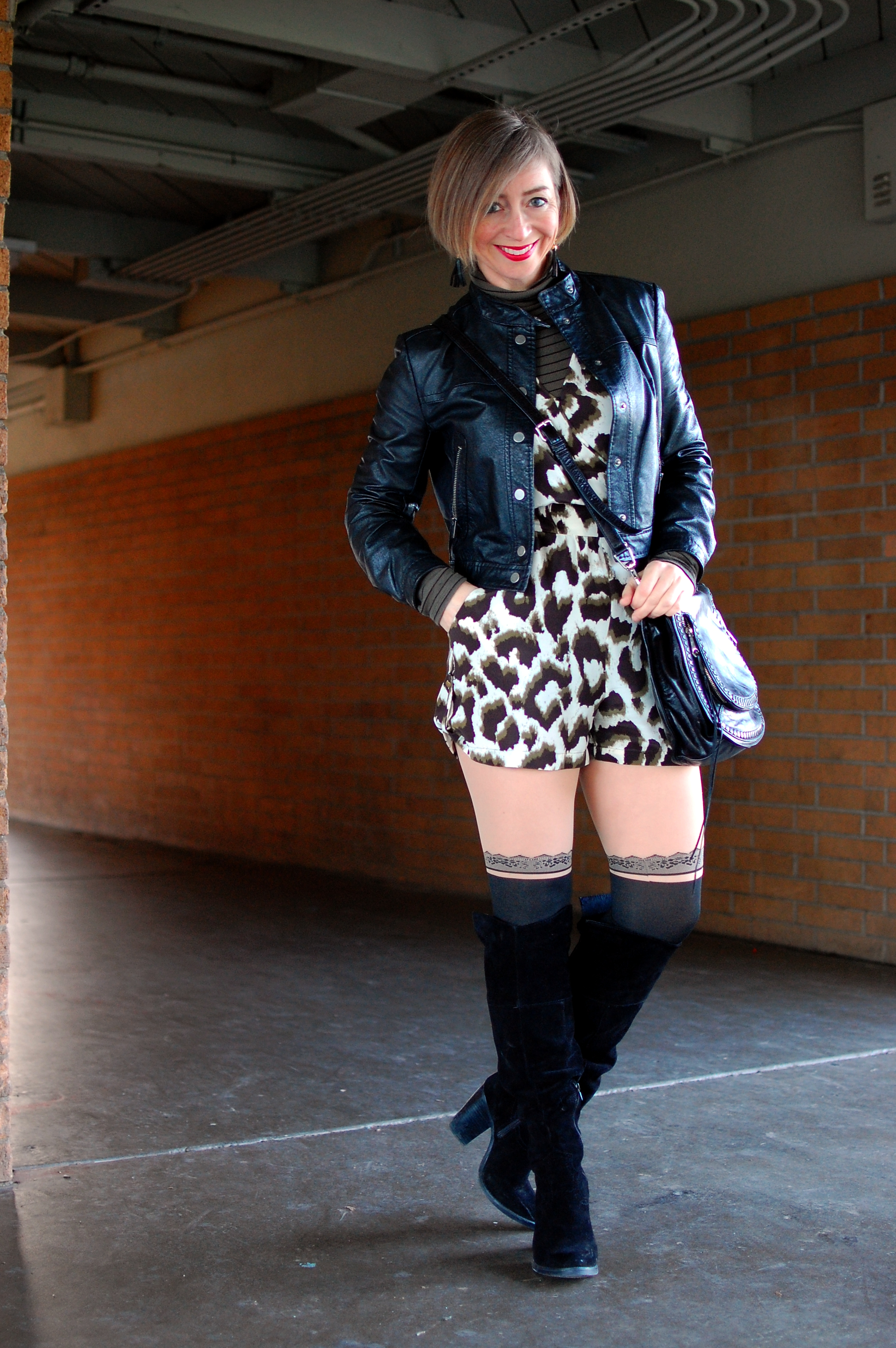 romper leather jacket knee boots suede ootd whatiwore2day