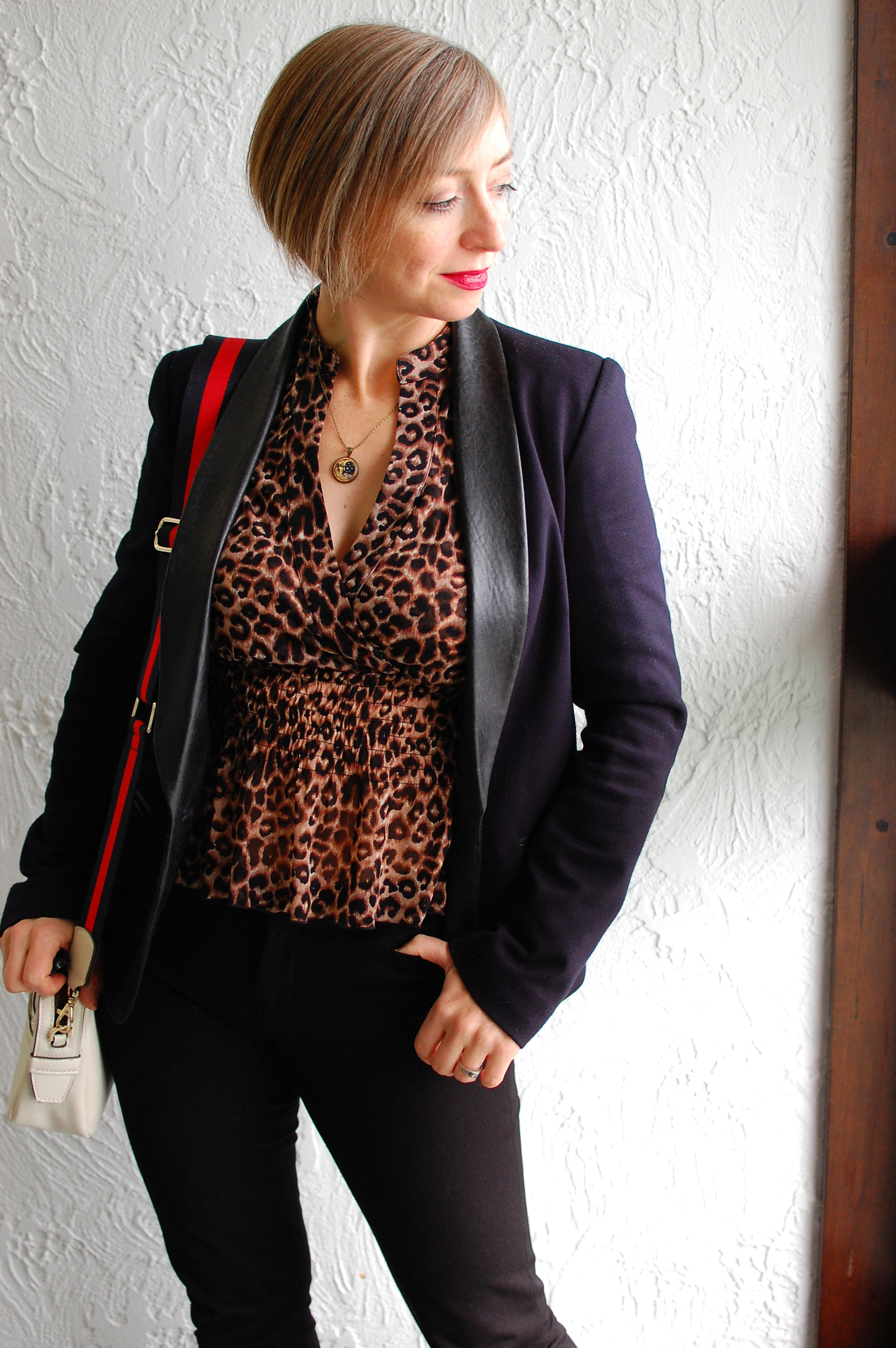 leopard business suit leopard leather black navy ootd whatiwore2day