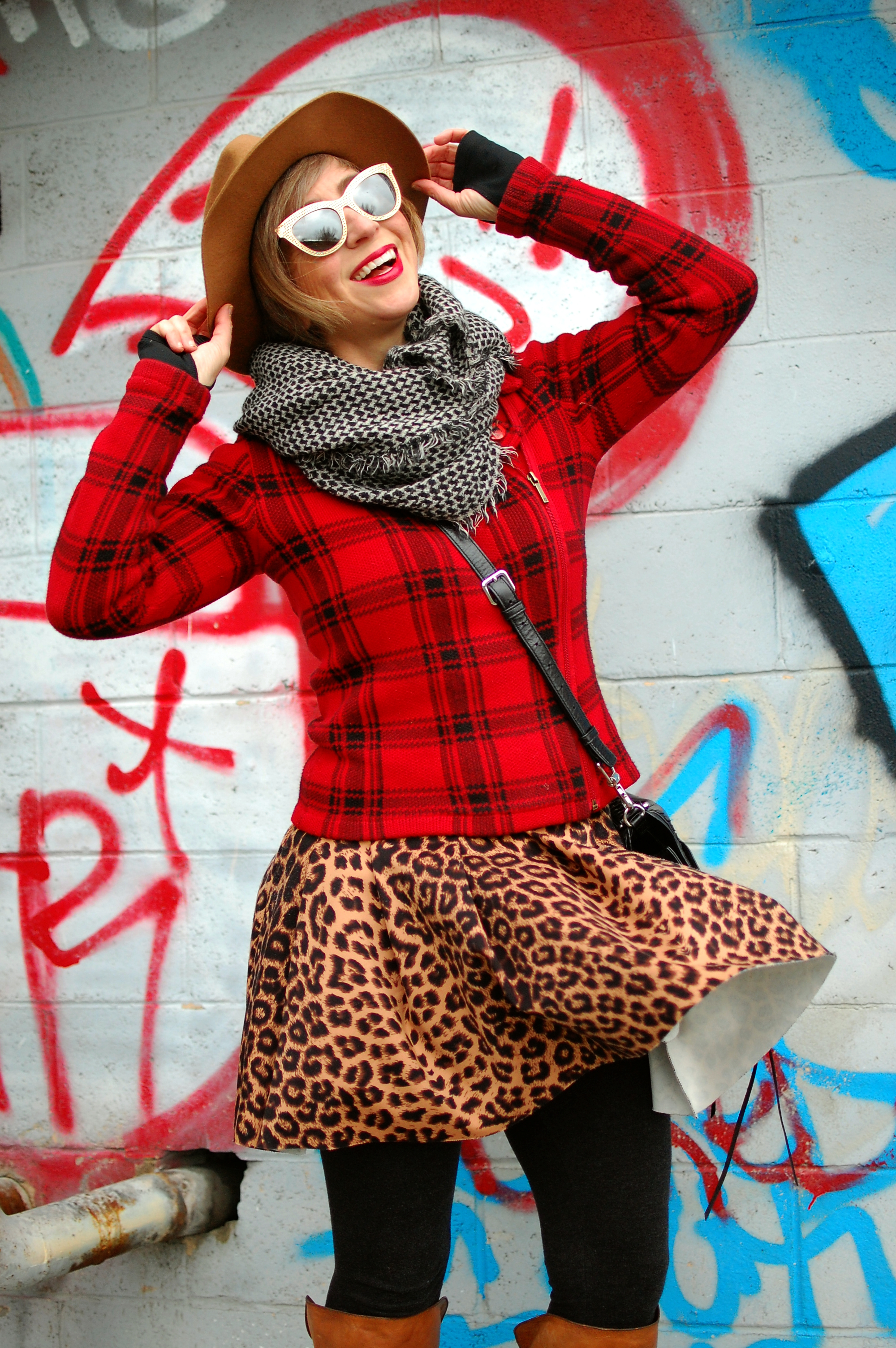 fashion blogger ootd plaid leopard pattern mix ootd whatiwore2day