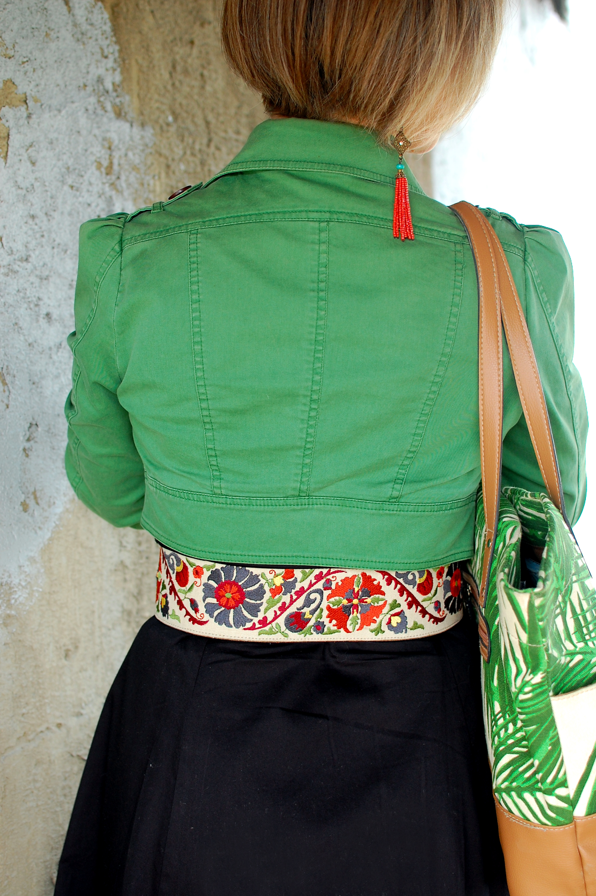floral belt green trench jacket palm print bag beaded tassel earring whatiwore2day ootd