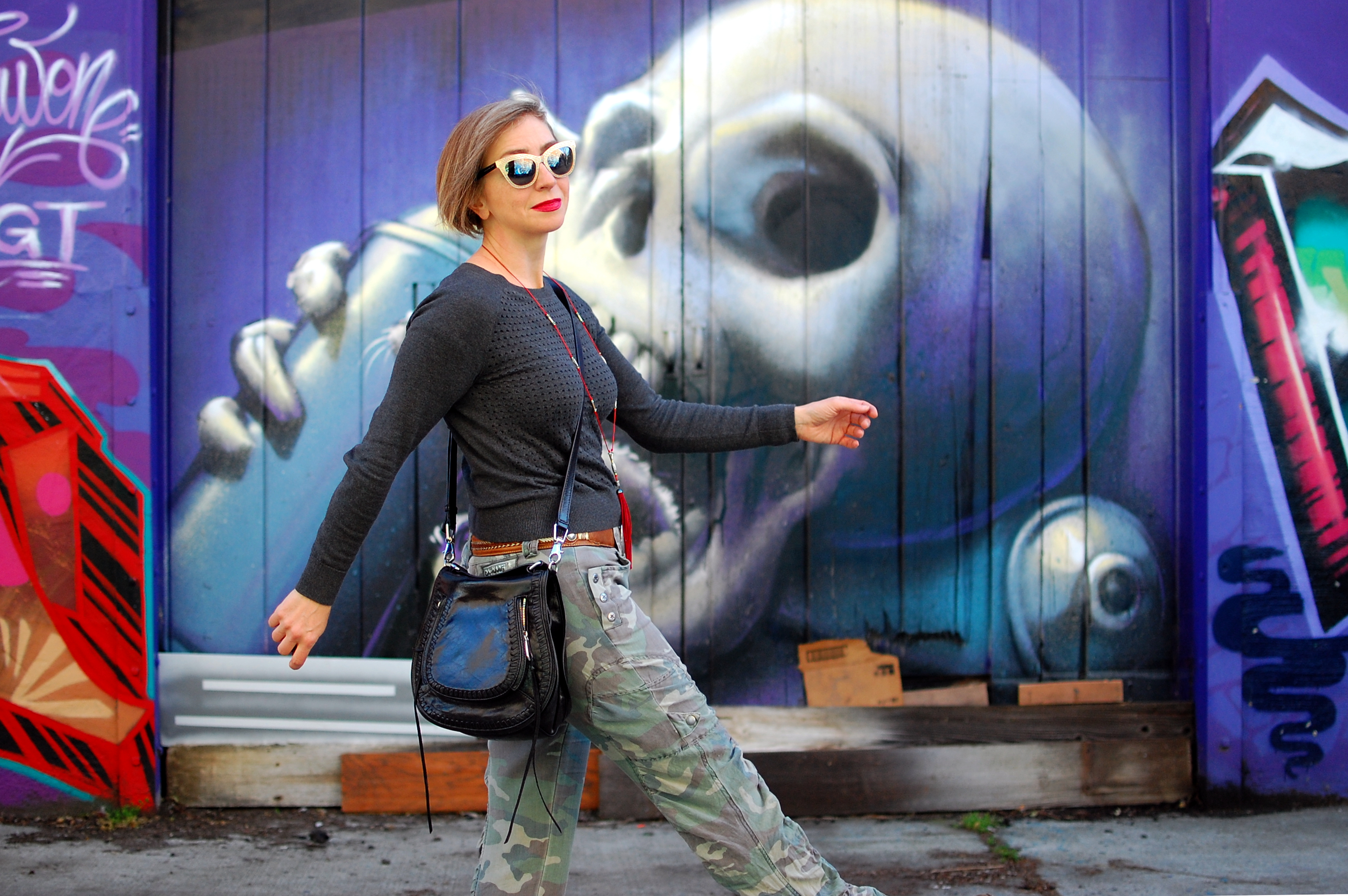 mural skull ootd whatiwore2day camo olive gray sacramento