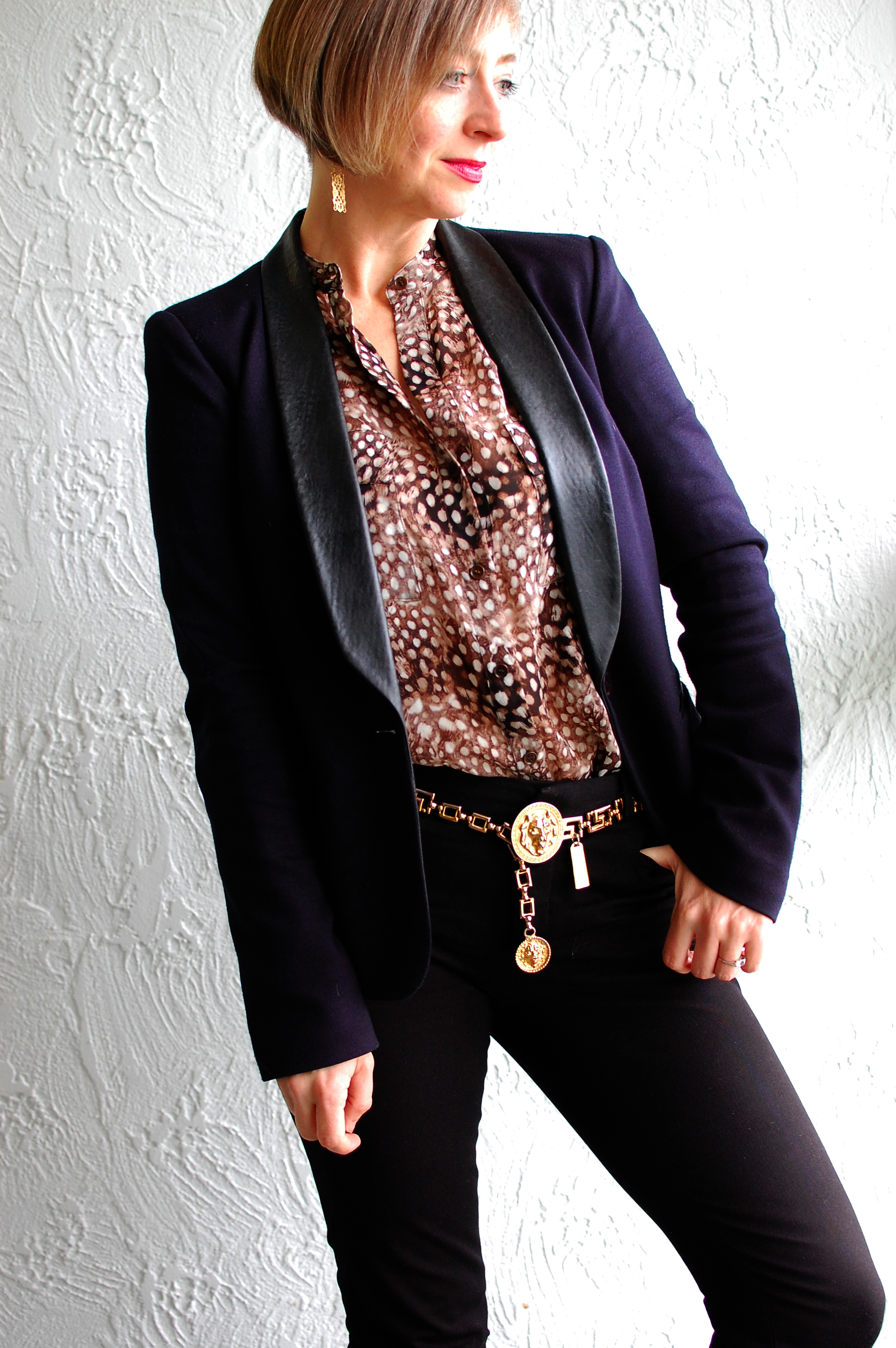 pantsuit black navy silk leopard blouse ootd whatiwore2day