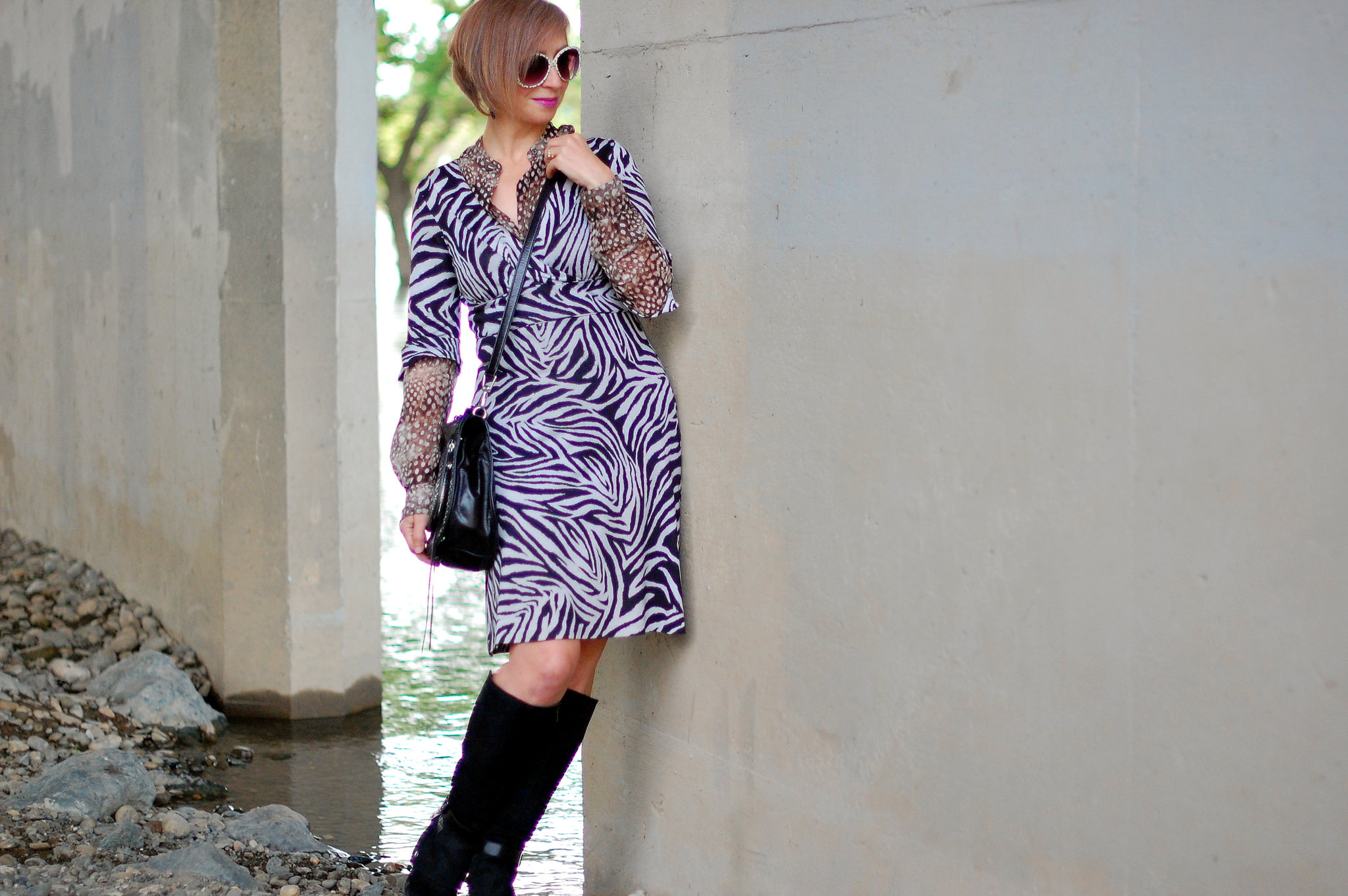 zebra tiger leopard shirt under dress ootd outfit substitute teacher