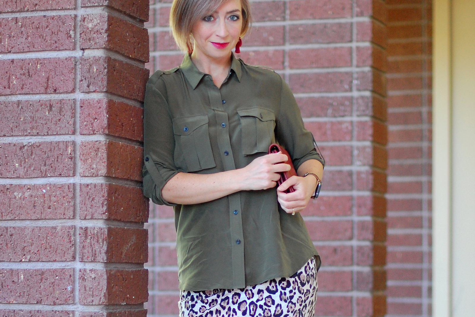 silk blouse leopard pencil skirt outfit ootd whatiwore2day