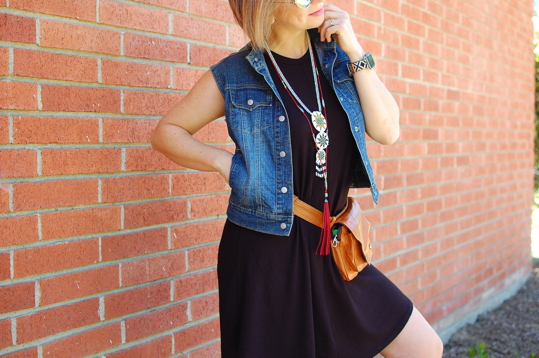 ootd whatiwore2day denim vest hip waist bag