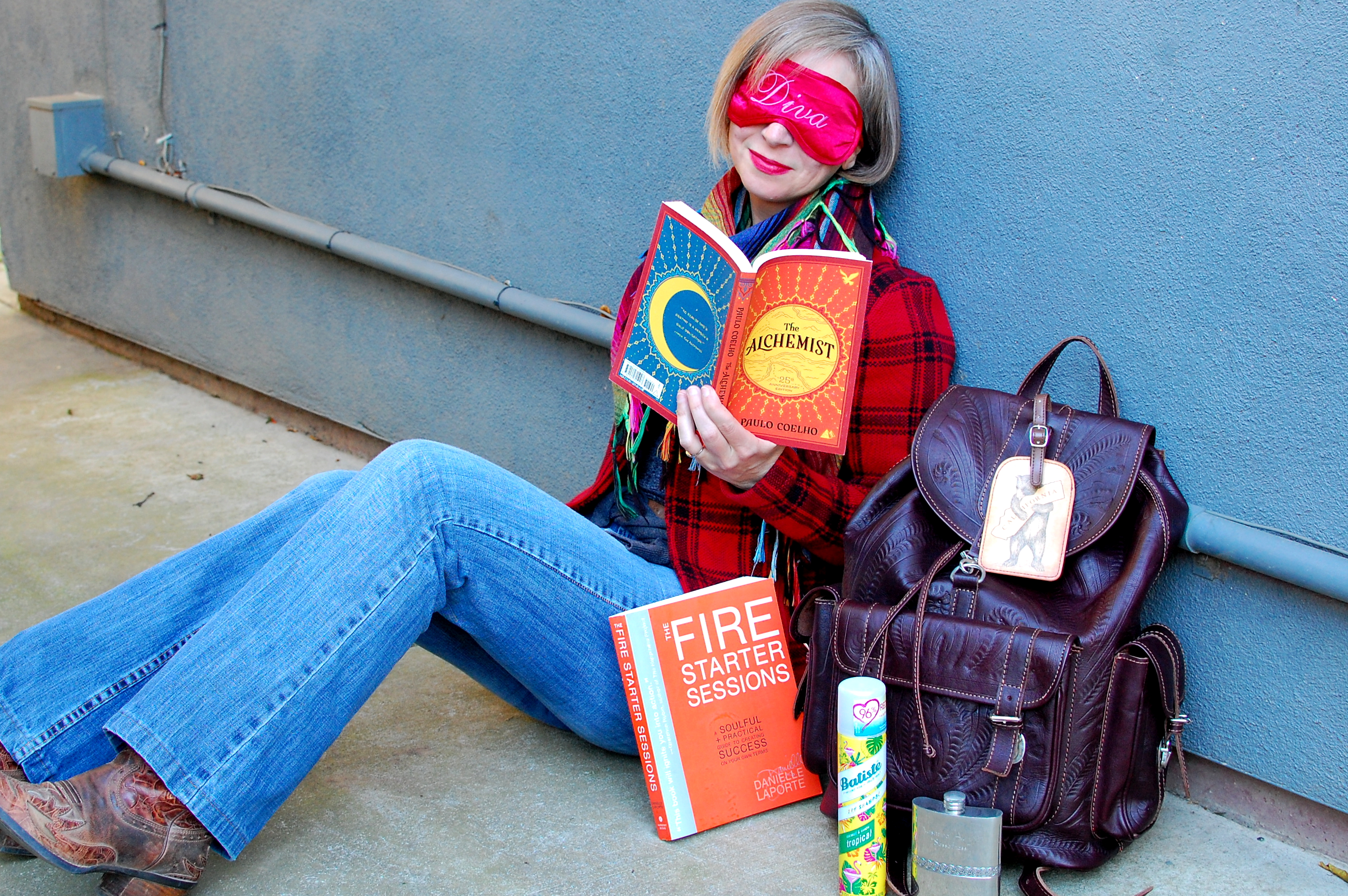 travel read books eye mask ootd whatiwore2day tooled leather backpack