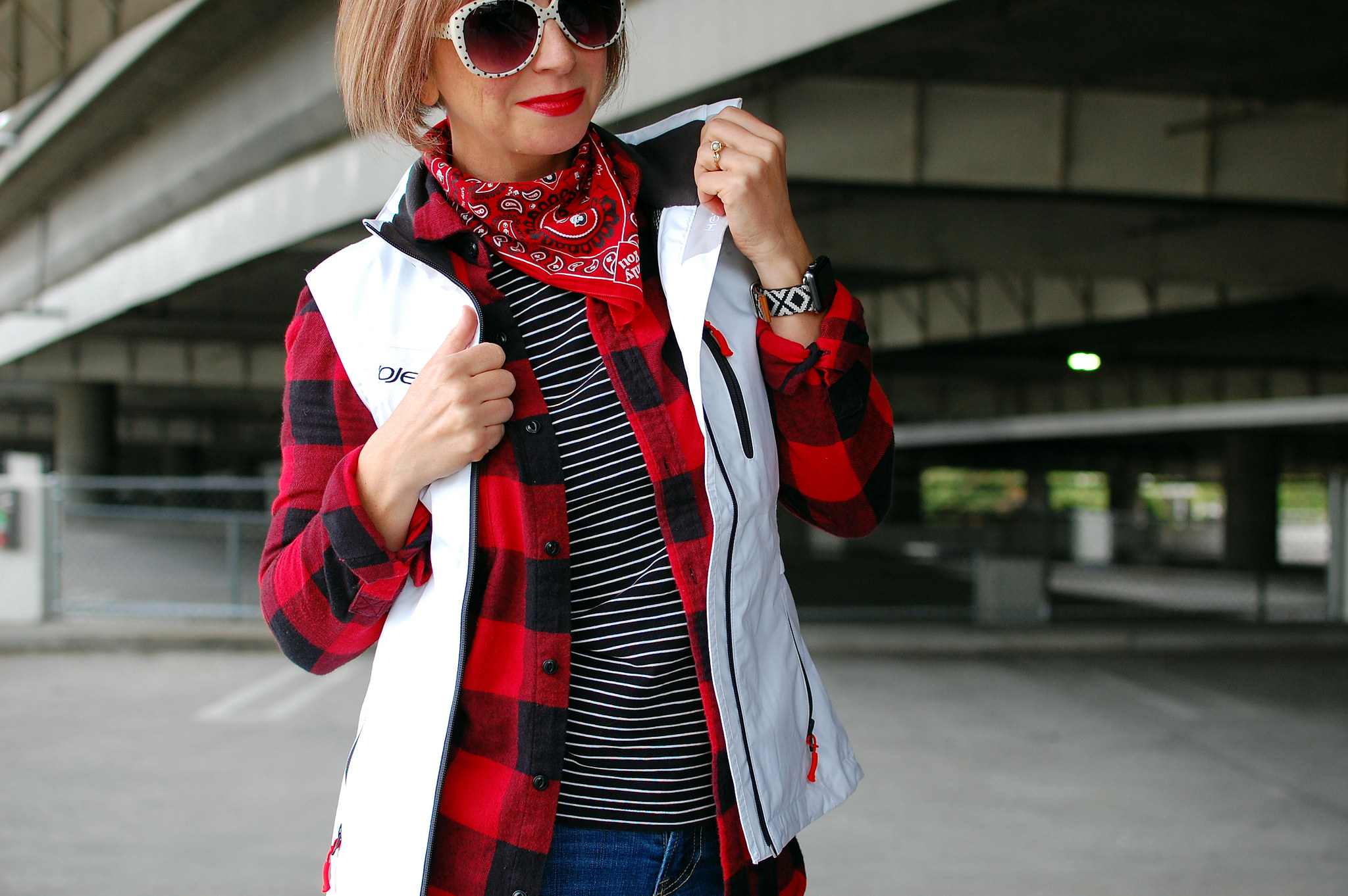 bandana flannel vest pattern mix ootd photographer whatiwore2day