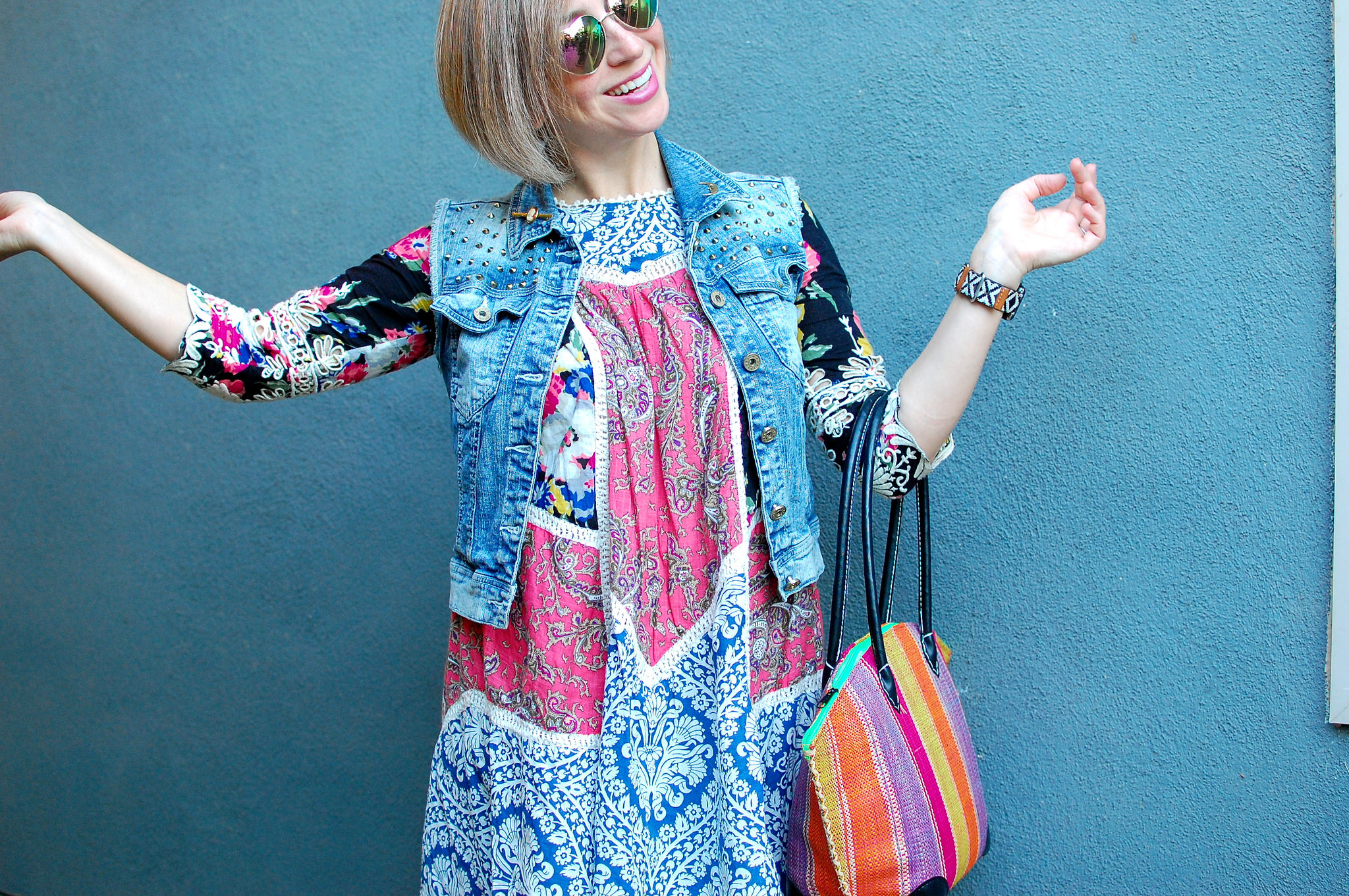 denim vest mexican dress outfit ootd whatiwore2day