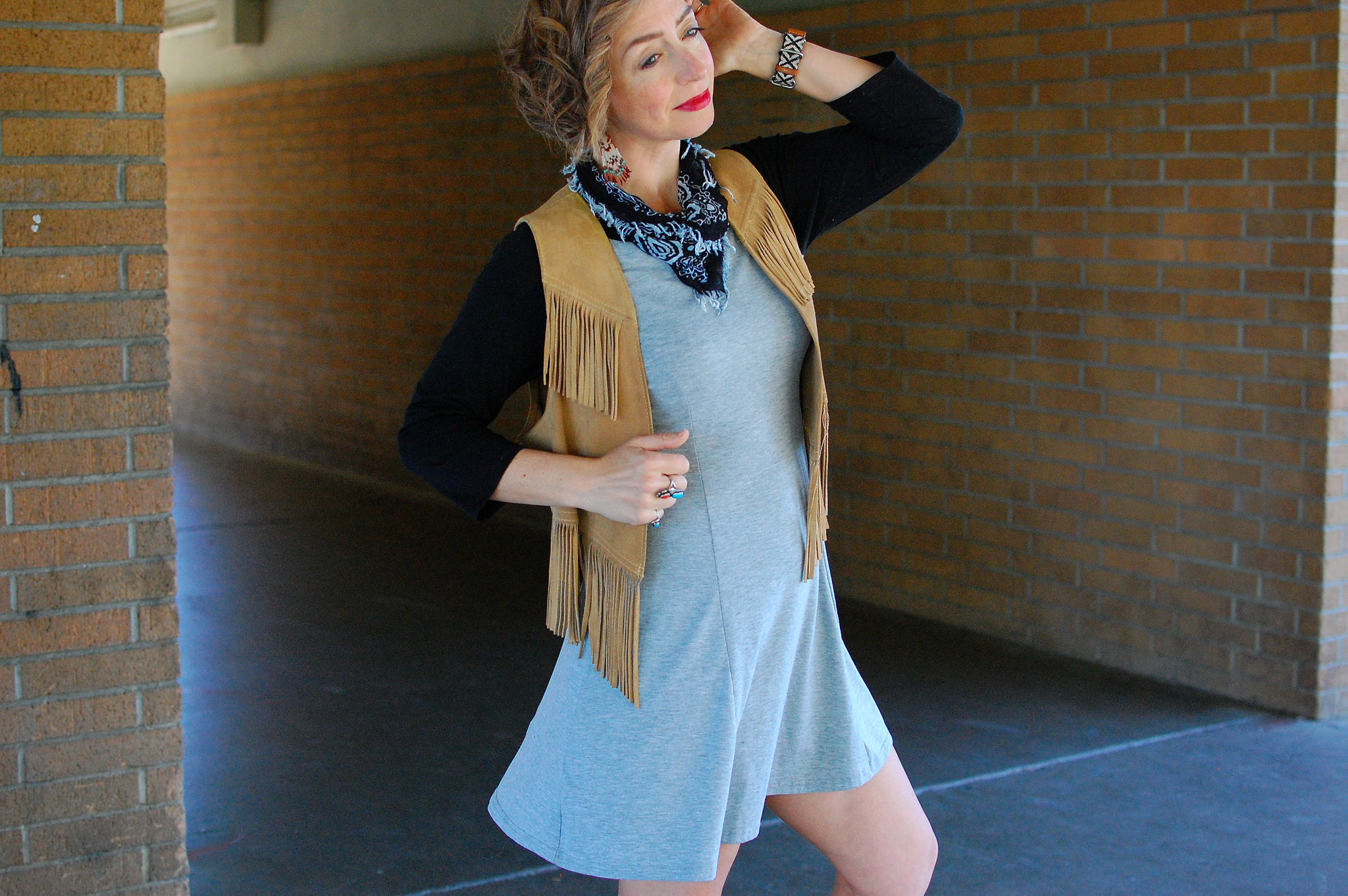 housewarming fringed suede vest ootd casual whatiwore2day