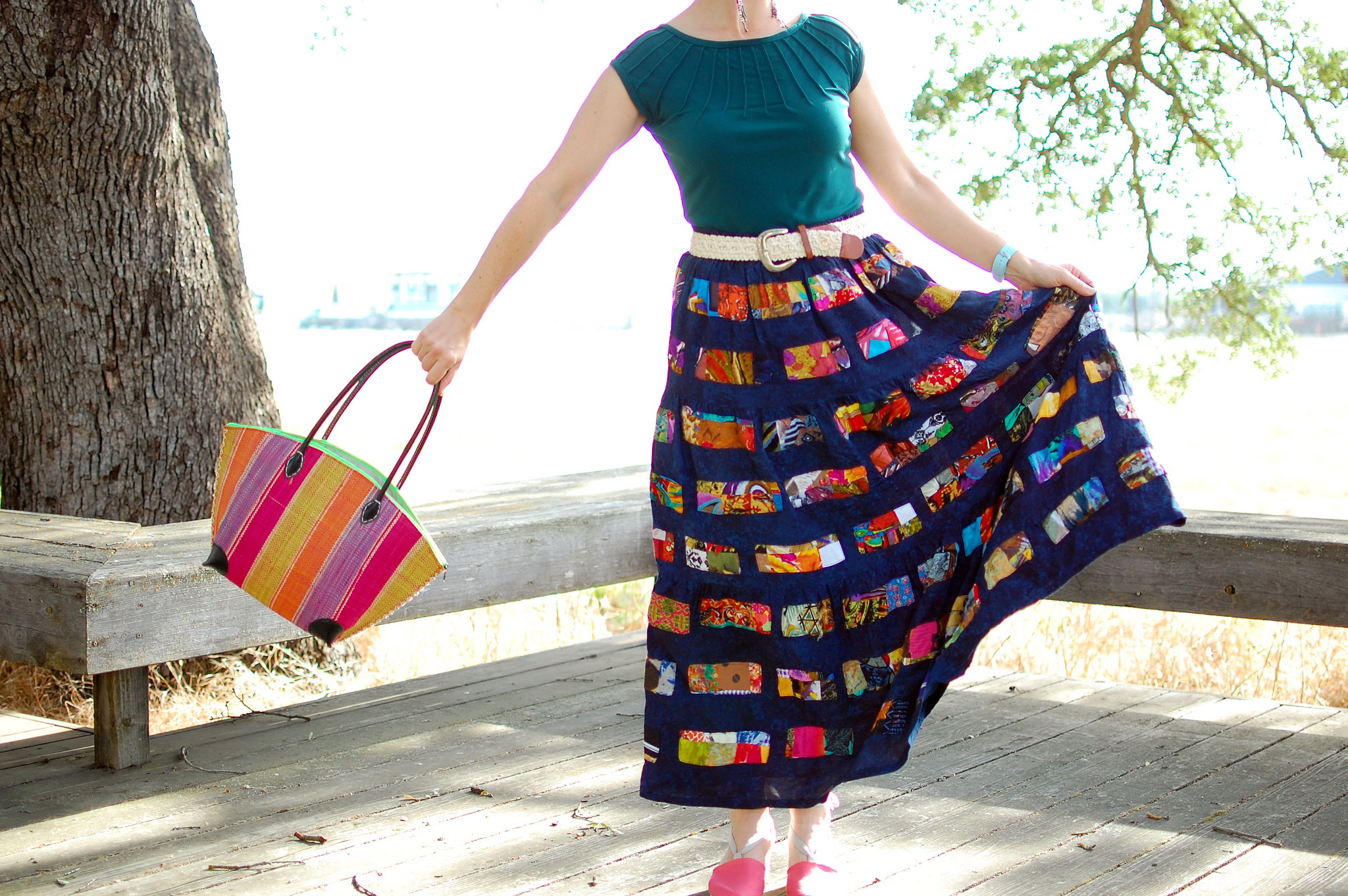 patchwork maxi skirt outfit ootd whatiwore2dah