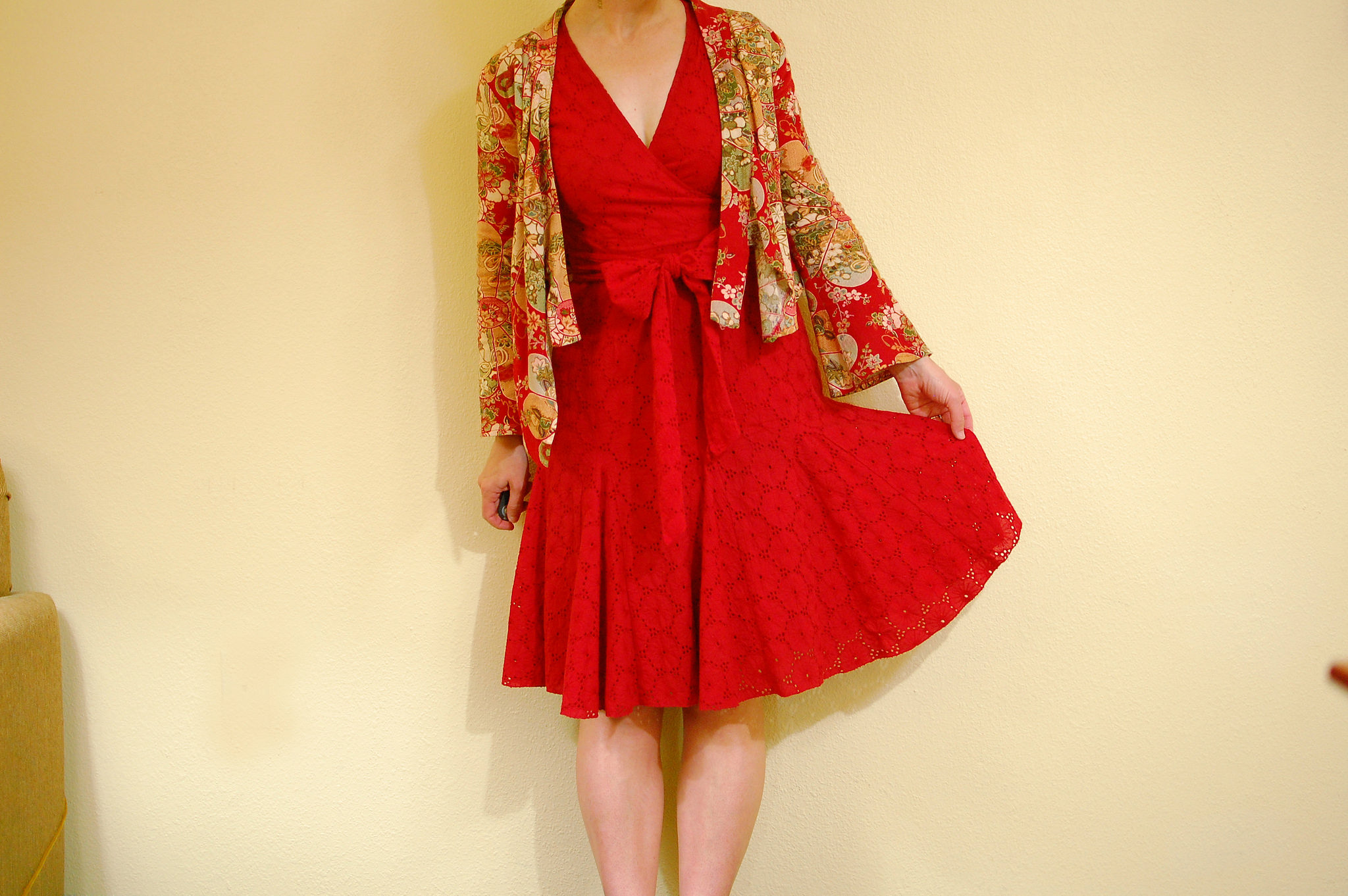 red eyelet dress kimono jacket outfit ootd whatiwore2day