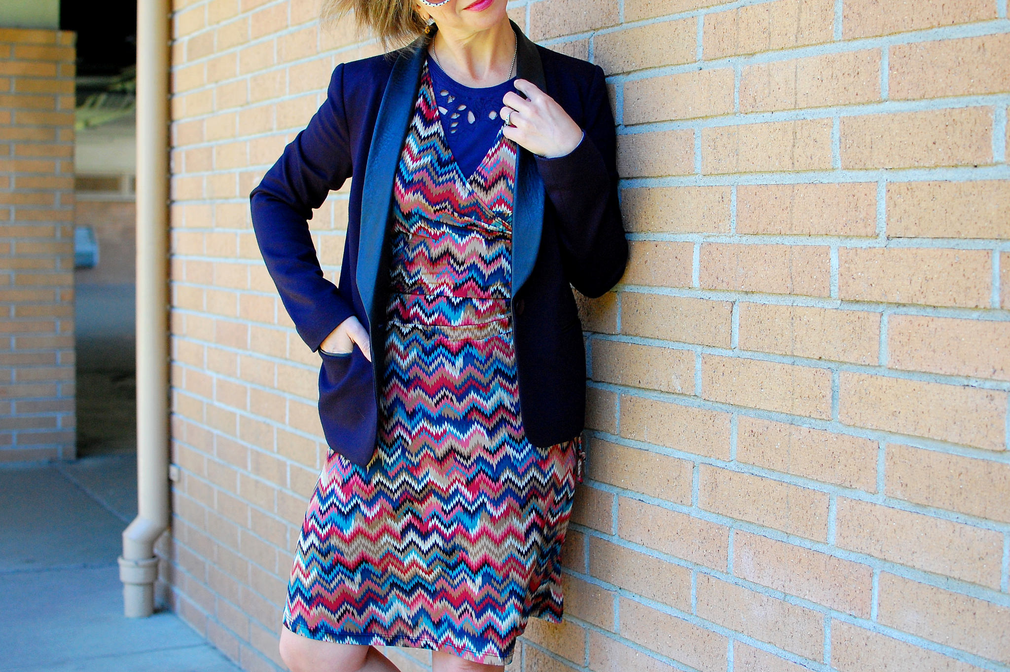 black and navy missoni knockoff outfit ootd whatiwore2day career fair