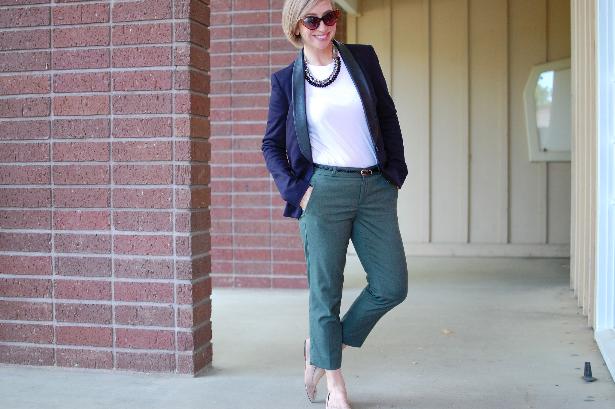 business casual formal black and navy leather lapel blazer olive cropped pants outfit ootd daily blogger whatiwore2day
