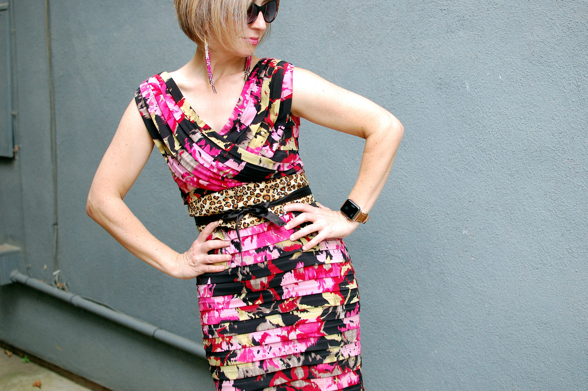 floral bandage dress leopard obi belt outfit ootd whatiwore2day
