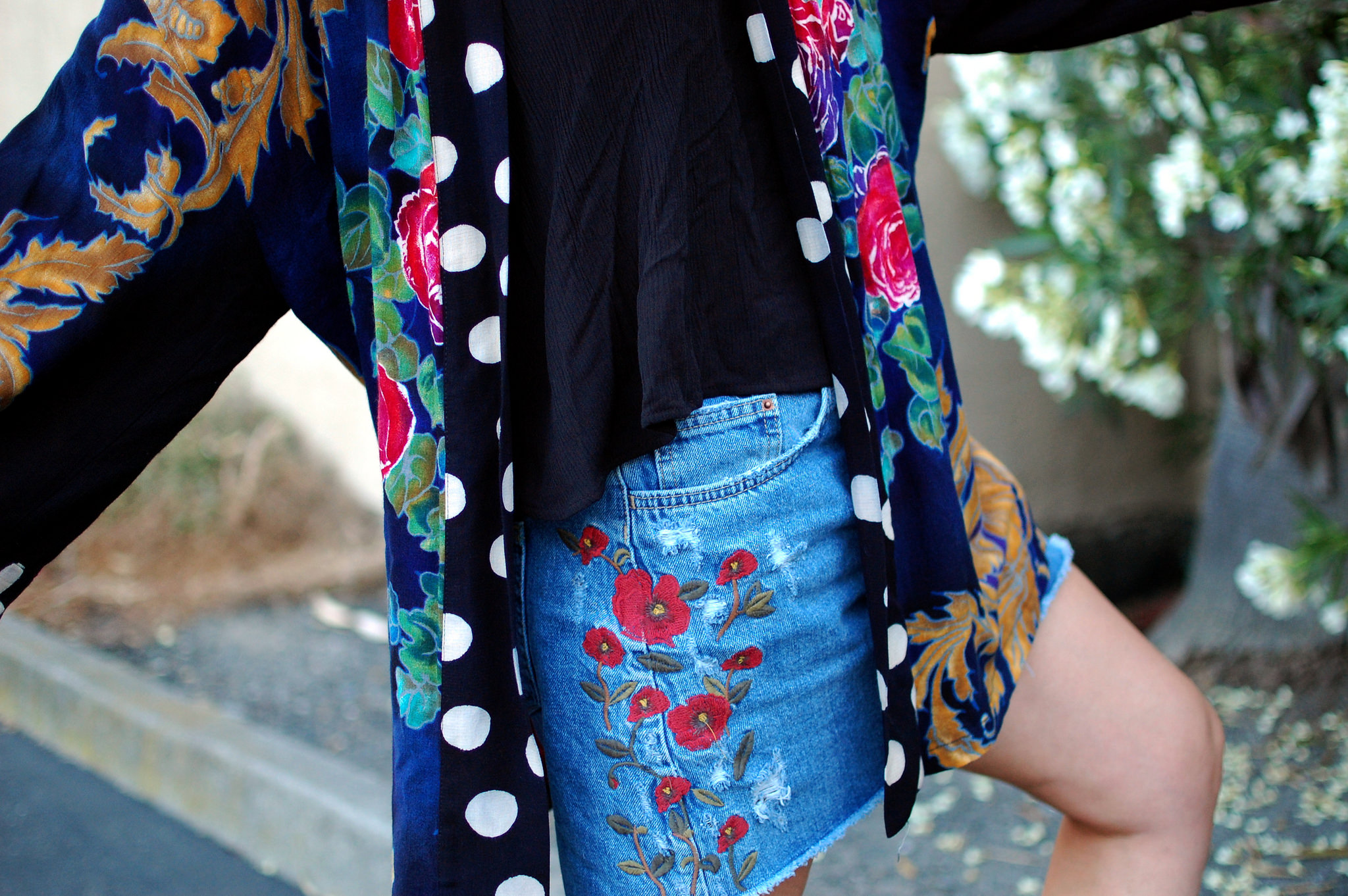 kimono floral denim skirt ootd outfit whatiwore2day