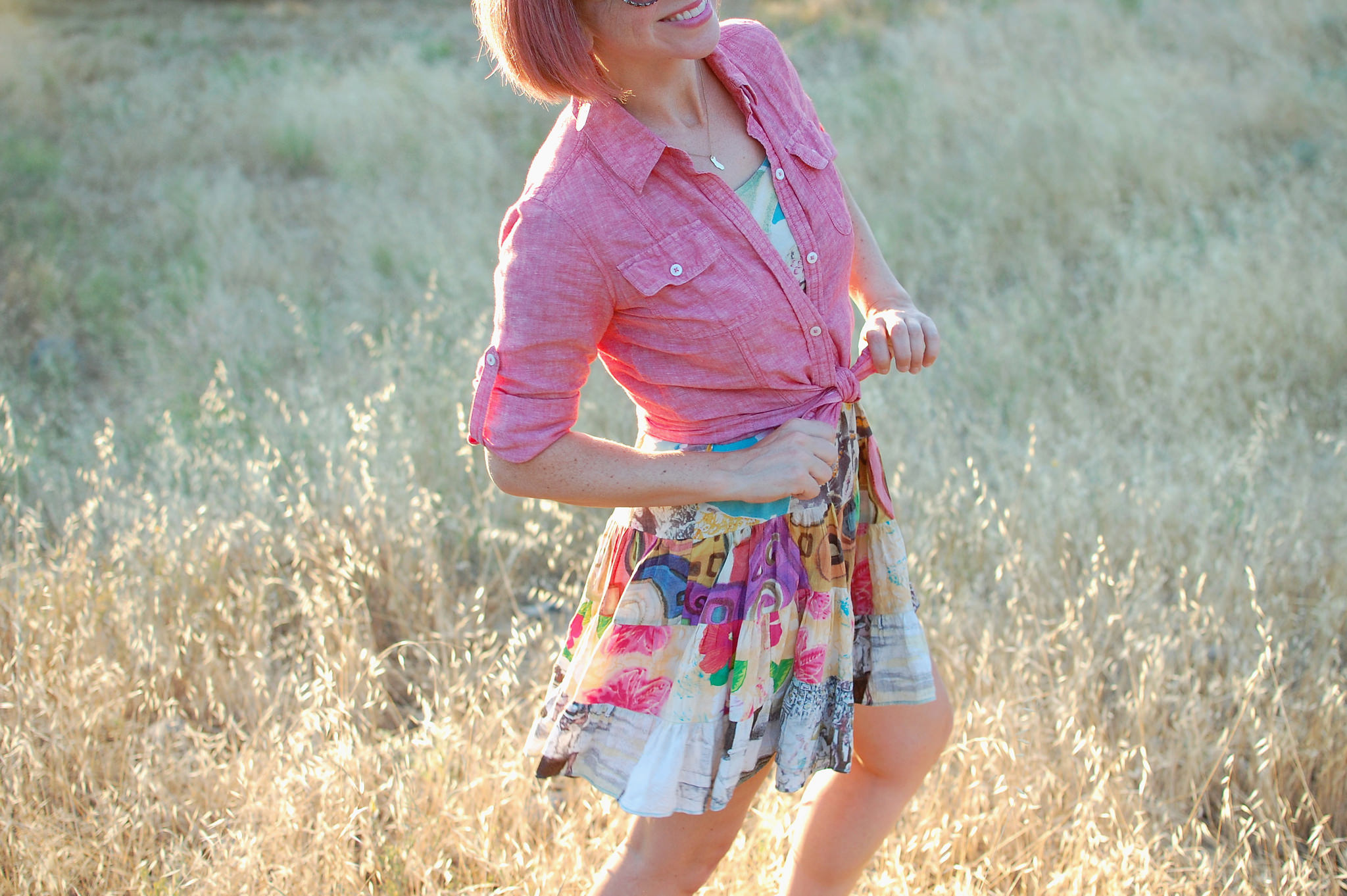 sunset pink knotted linen shirt daily outfit blog ootd whatiwore2day