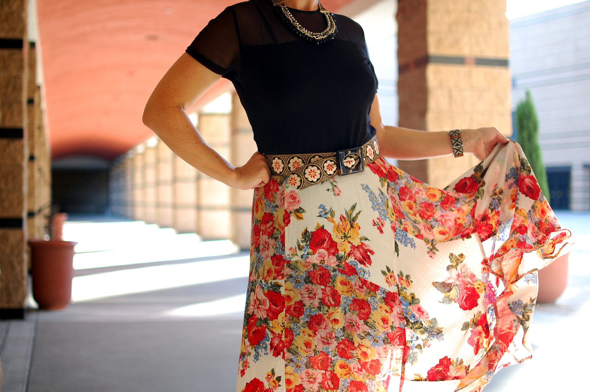 floral skirt patterned belt mix daily outfit blog ootd whatiwore2day
