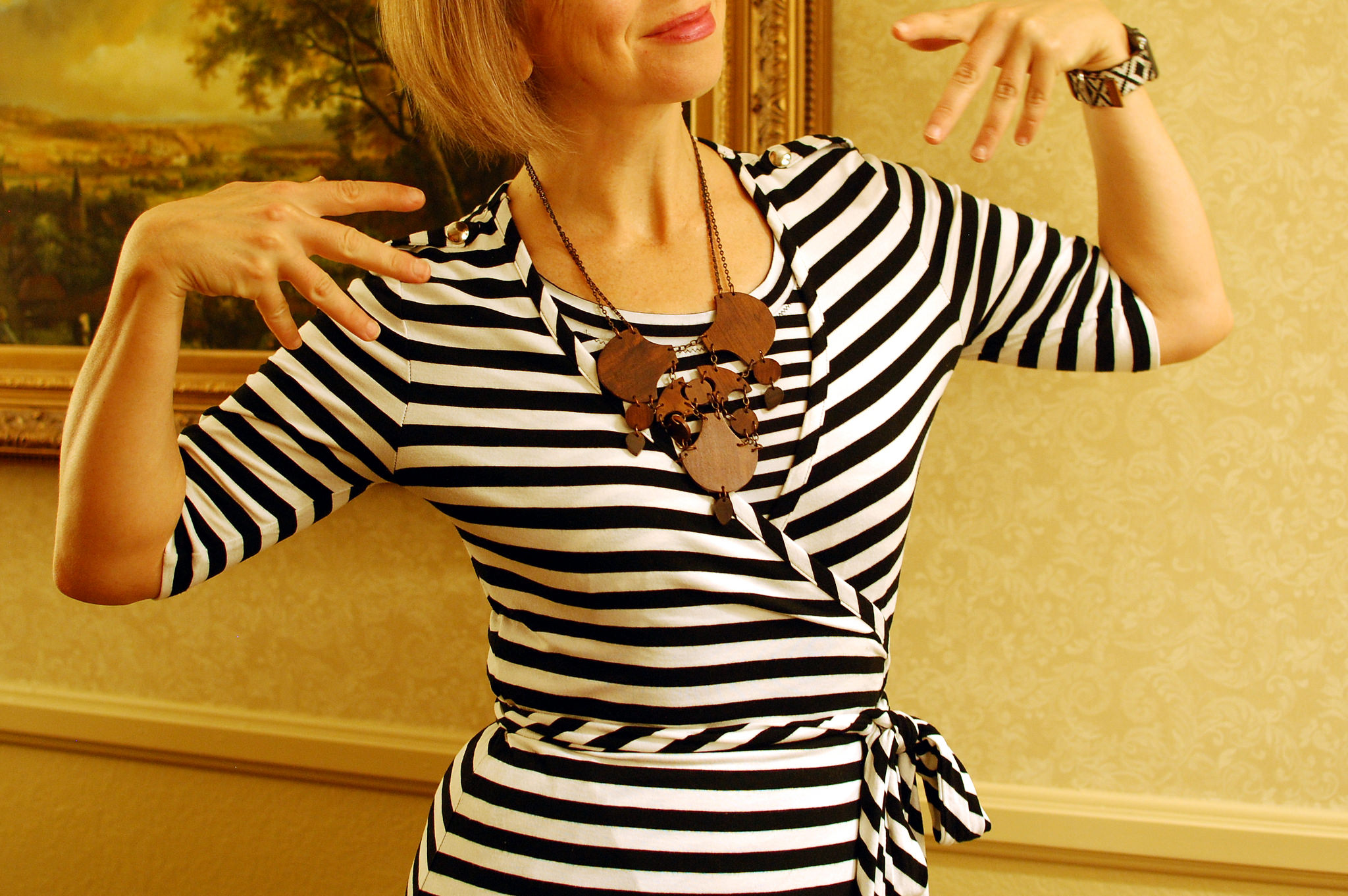 pattern mix black white brown wrap dress daily outfit blog ootd whatiwore2day