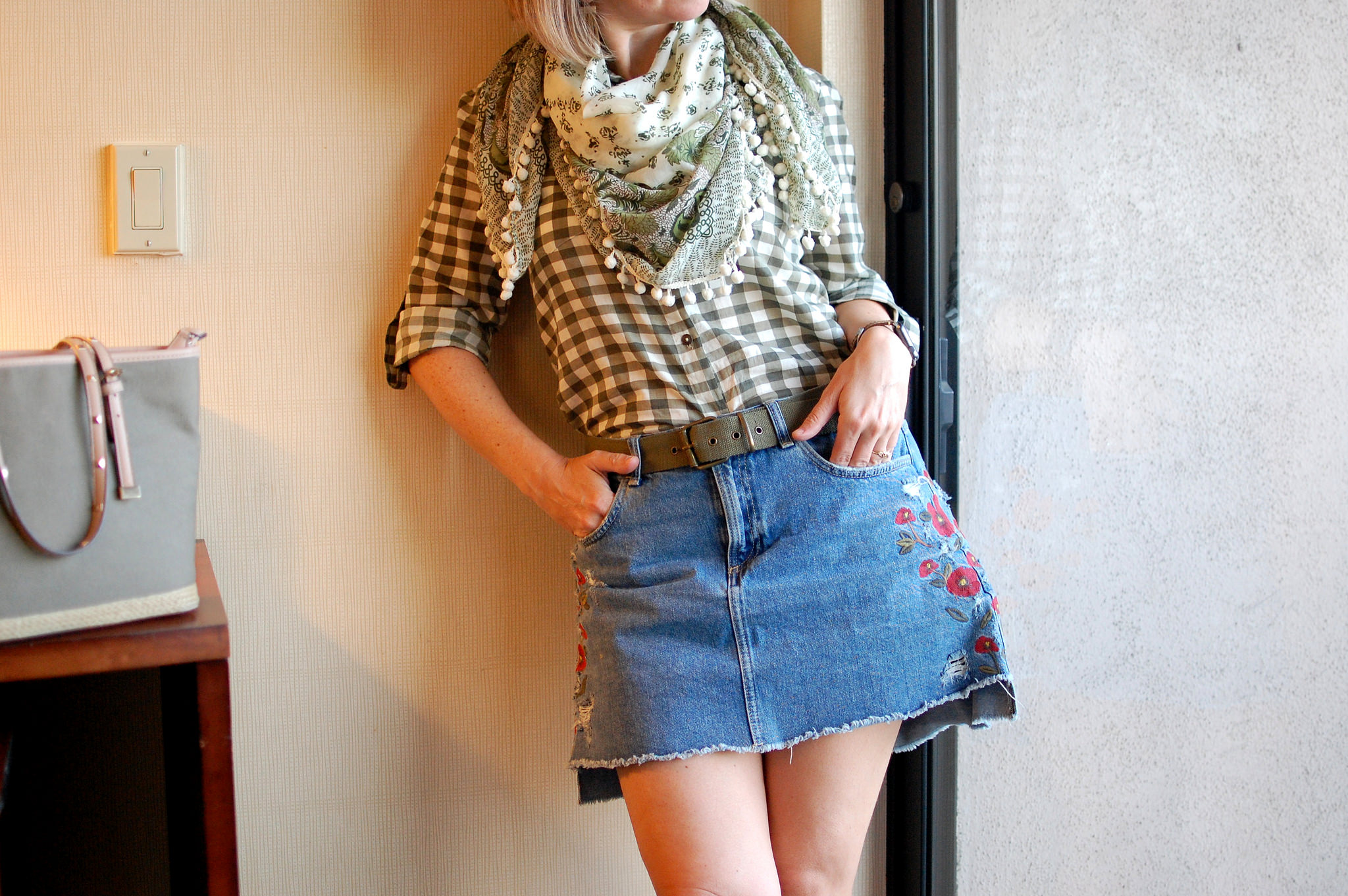 pompom scarf paisley gingham olive pattern mix ootd daily outfit blog whatiwore2day
