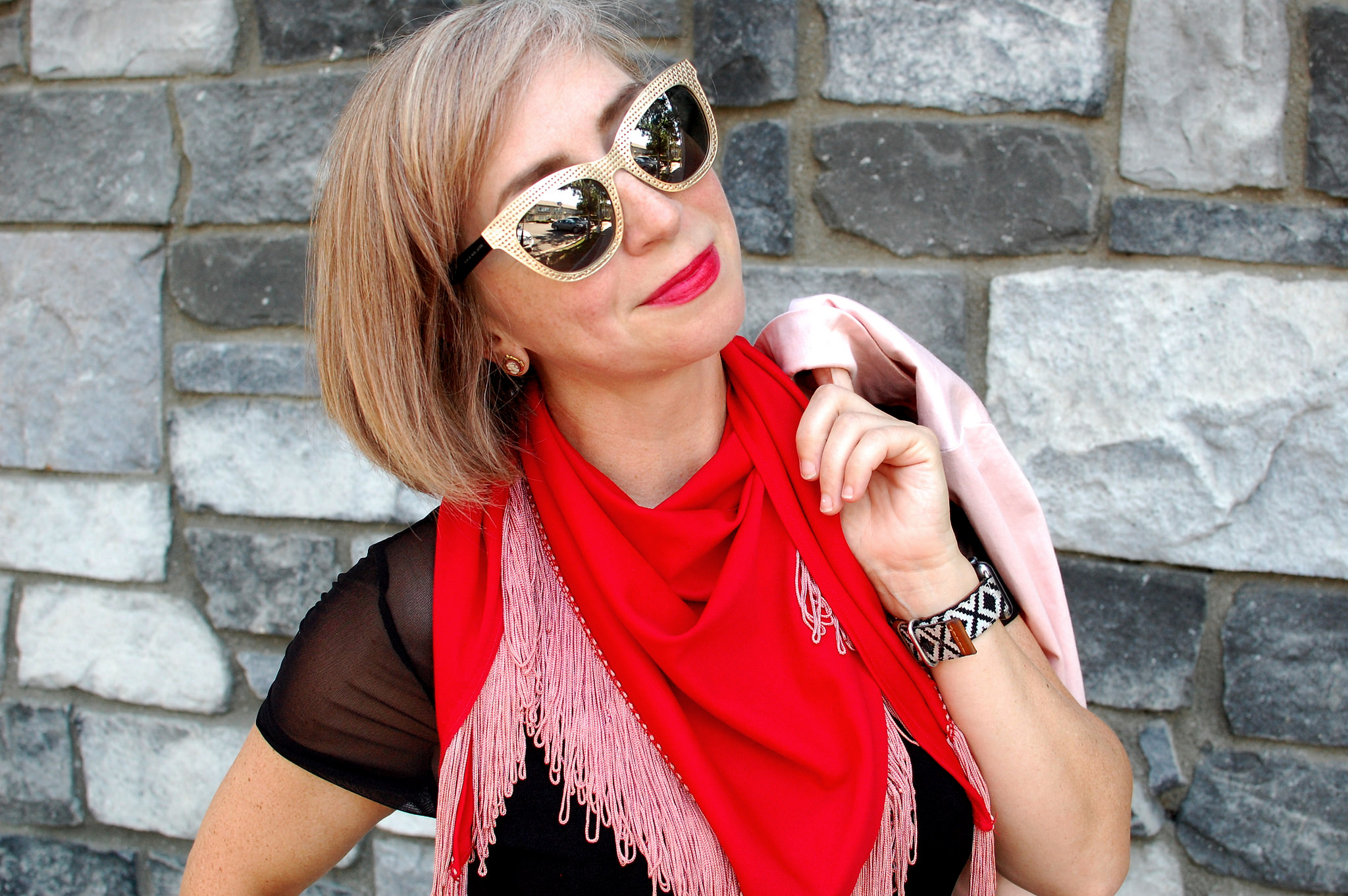 scarf red pink piano fringe daily outfit blog ootd whatiwore2day