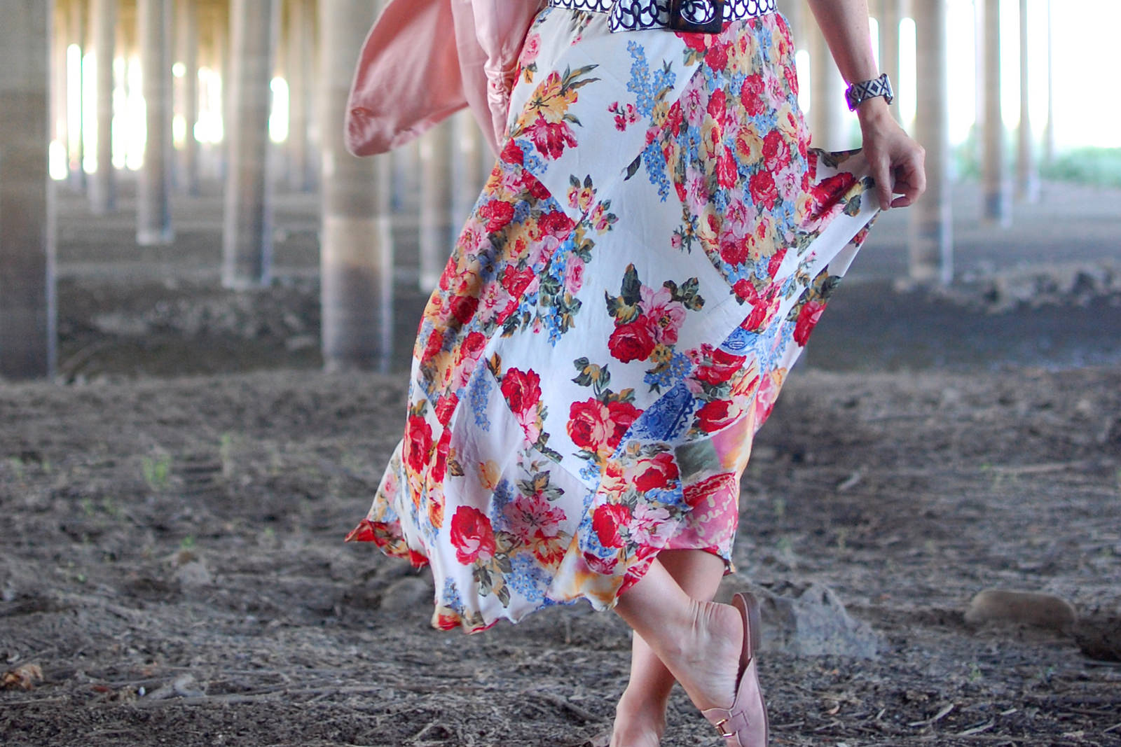 floral skirt suede slipper mule blush ootd daily outfit blog whatiwore2day