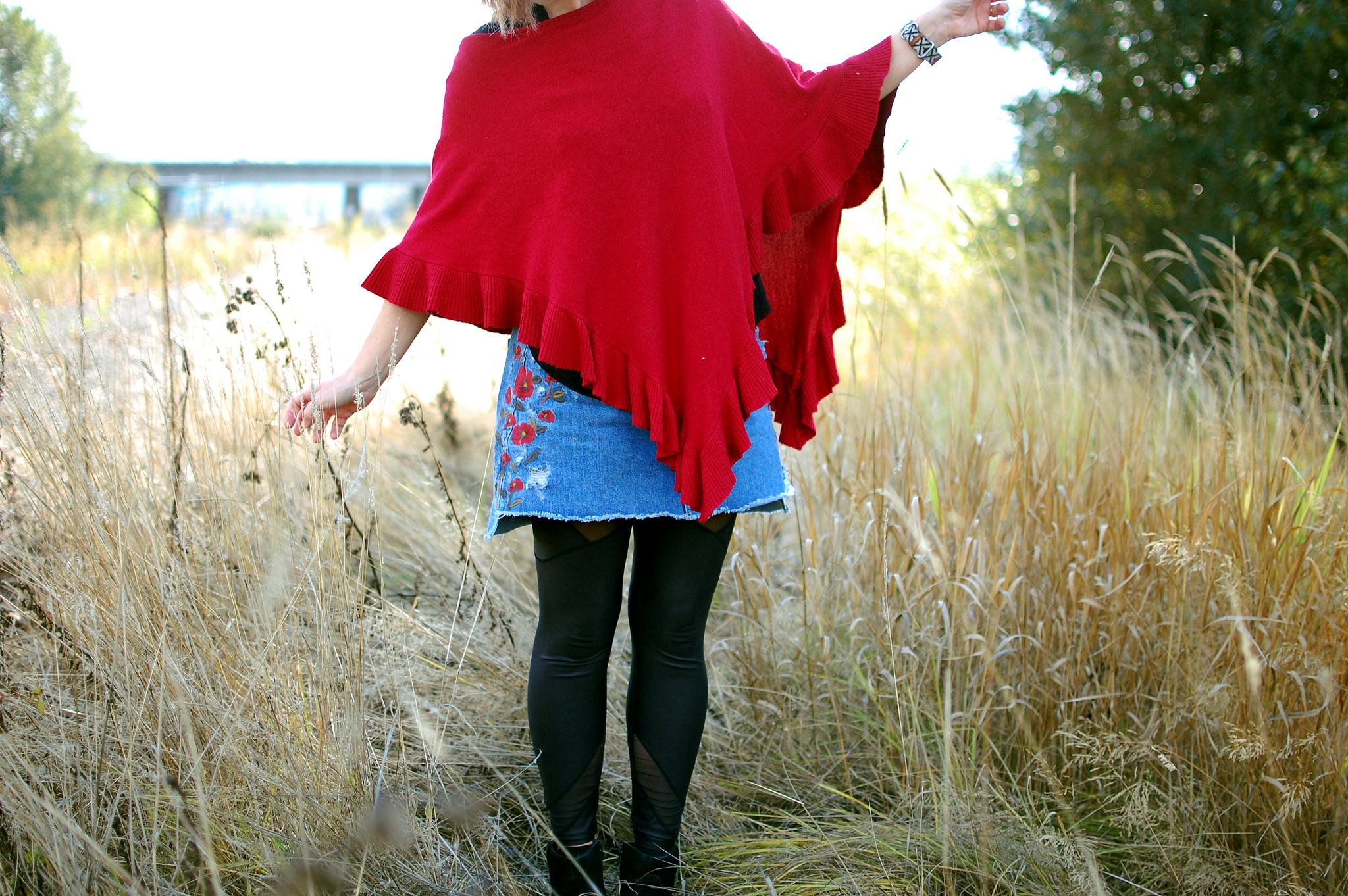 poncho embroidered denim skirt mesh insert leggings daily outfit blog ootd whatiwore2day
