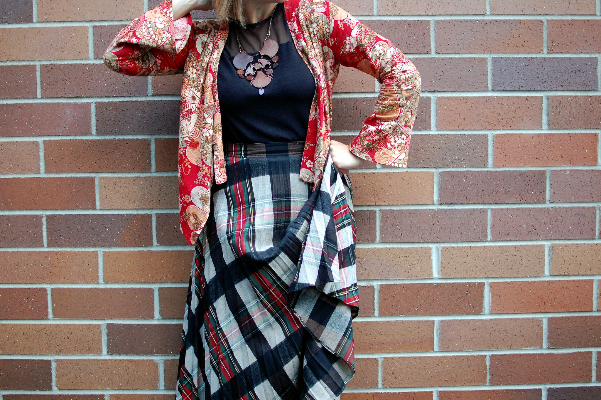 asian jacket plaid skirt pattern mix daily outfit blog ootd whatiwore2day