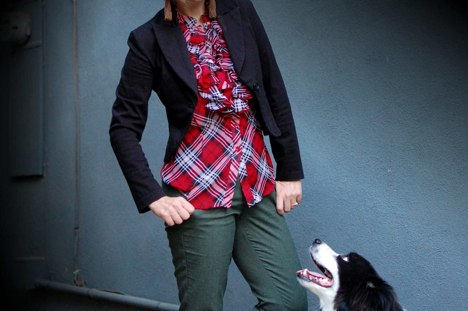 red plaid olive wool trousers border collie daily outfit blog whatiwore2day ootd