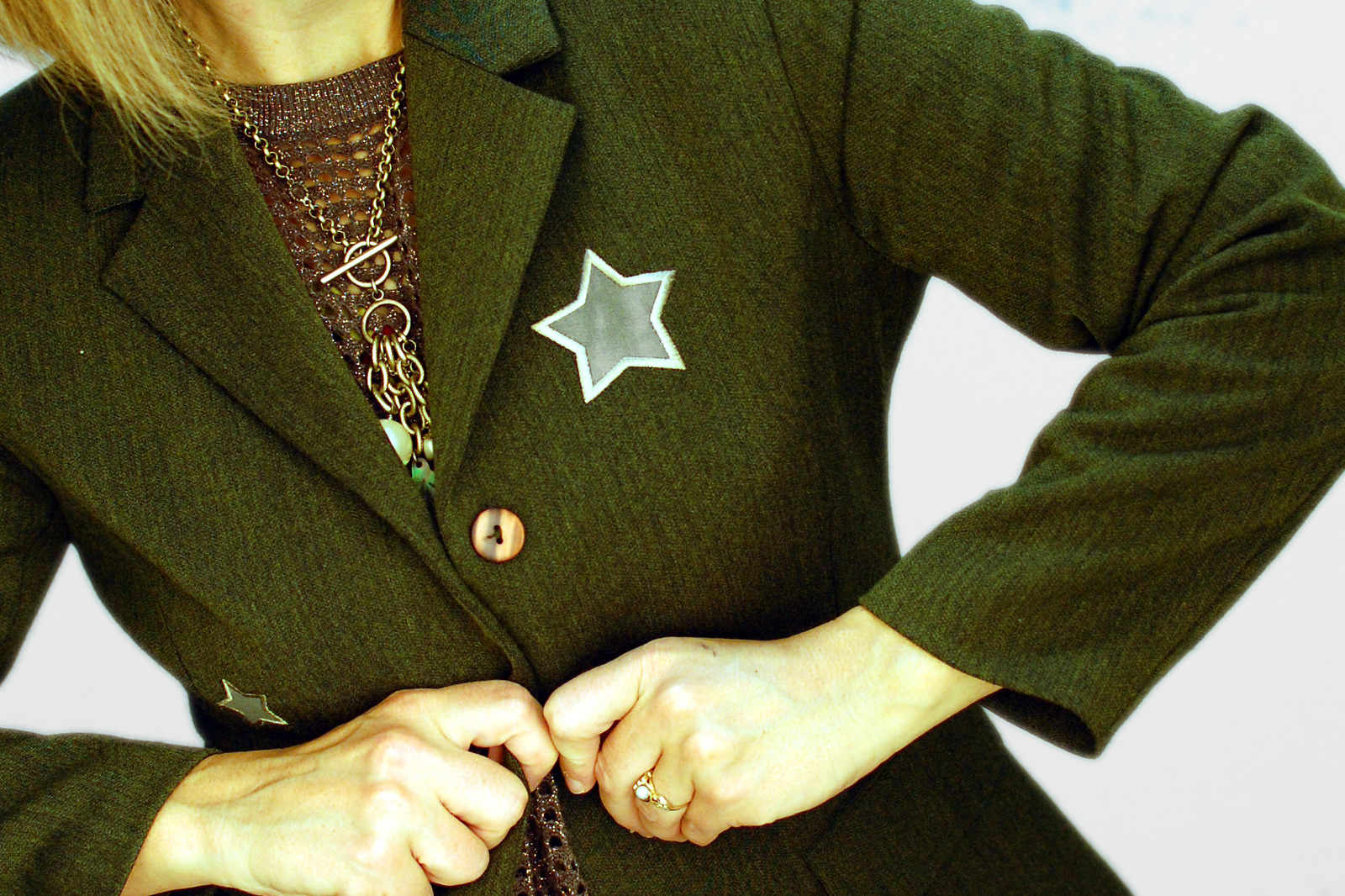 olive star applique jacket daily outfit blog ootd whatiwore2day