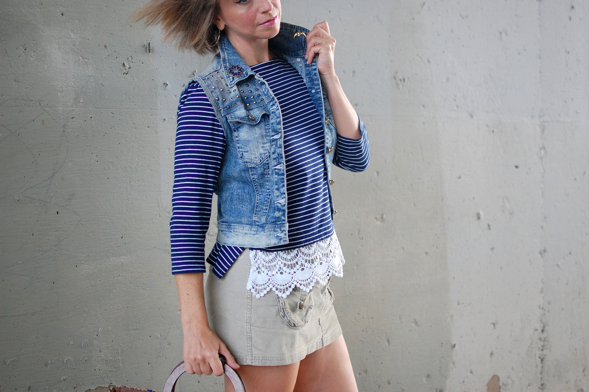 denim vest breton shirt crochet hem daily outfit blog ootd whatiwore2day corduroy mini
