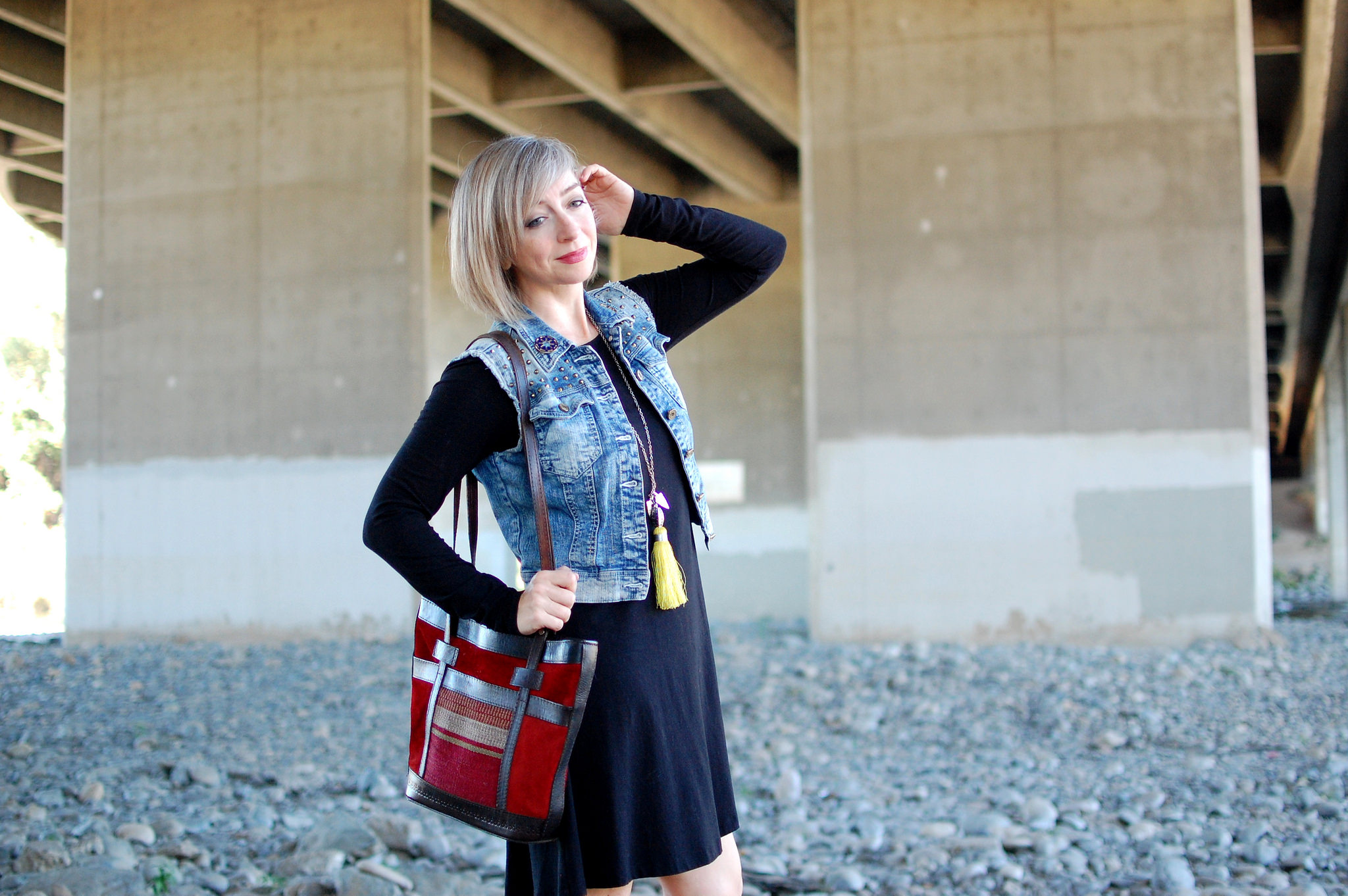 denim vest red suede bag casual lbd daily outfit blog whatiwore2day ootd