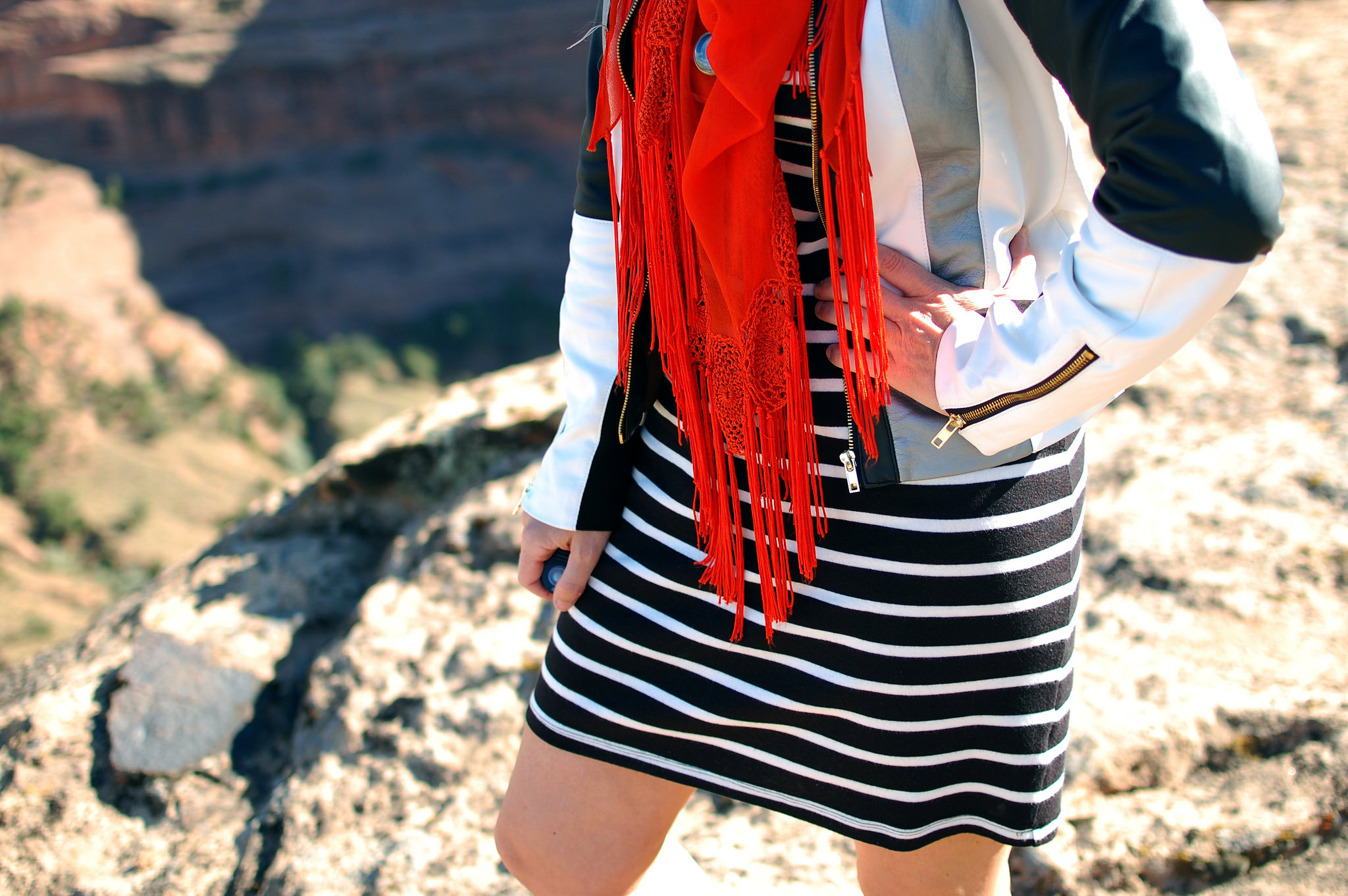 black and white striped dress orange scarf daily outfit blog whatiwore2day ootd