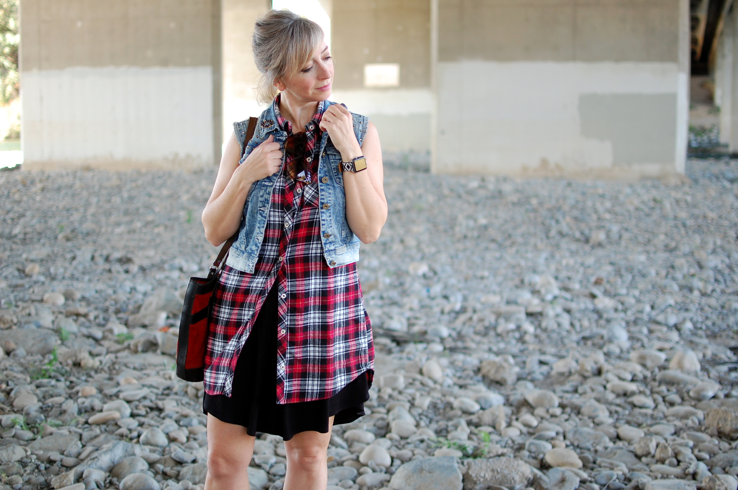 flannel tunic denim vest suede vest ootd casual daily outfit blog whatiwore2day