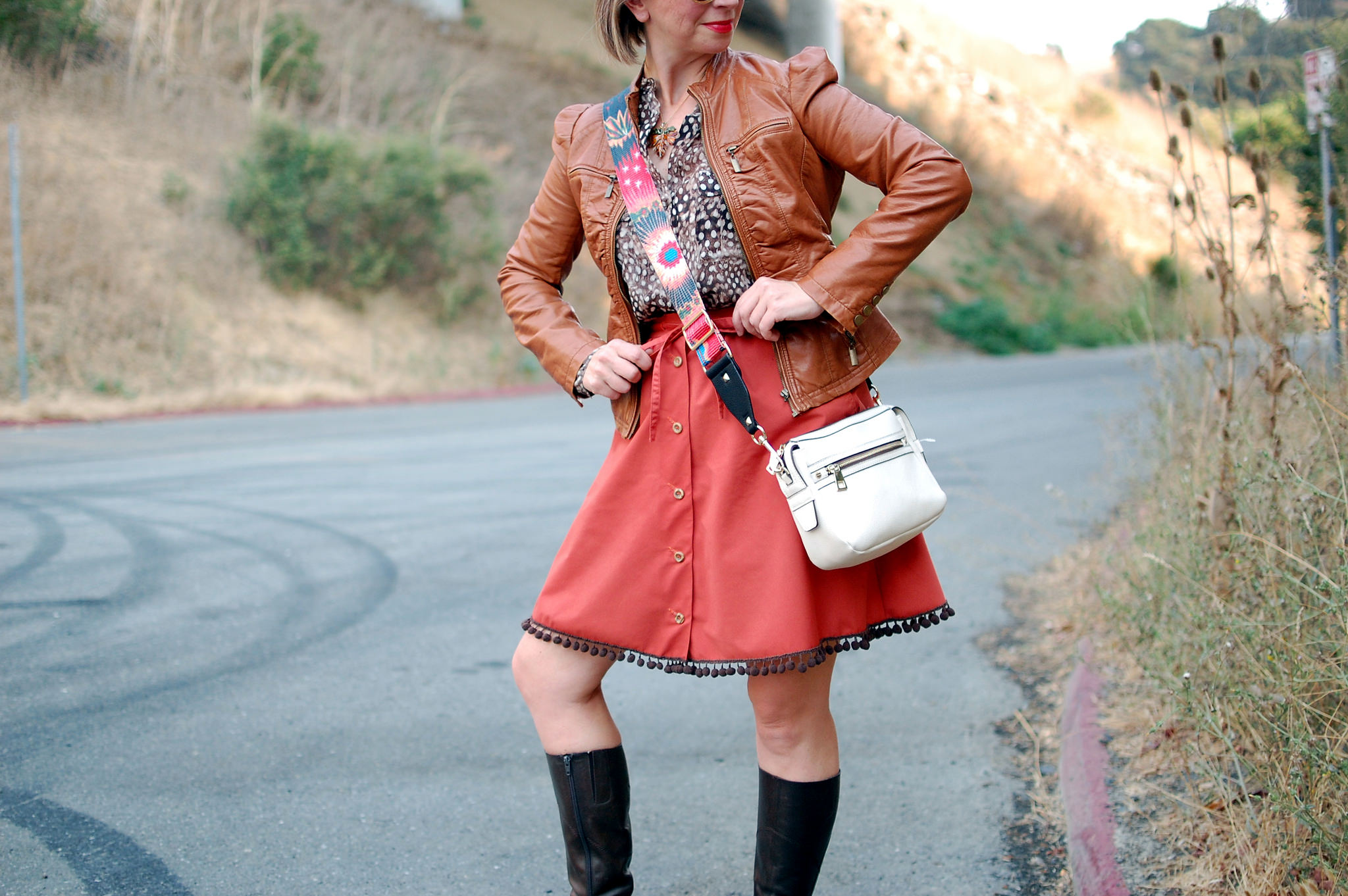 fall ootd daily outfit blog whatiwore2day pleather jacket ball trim