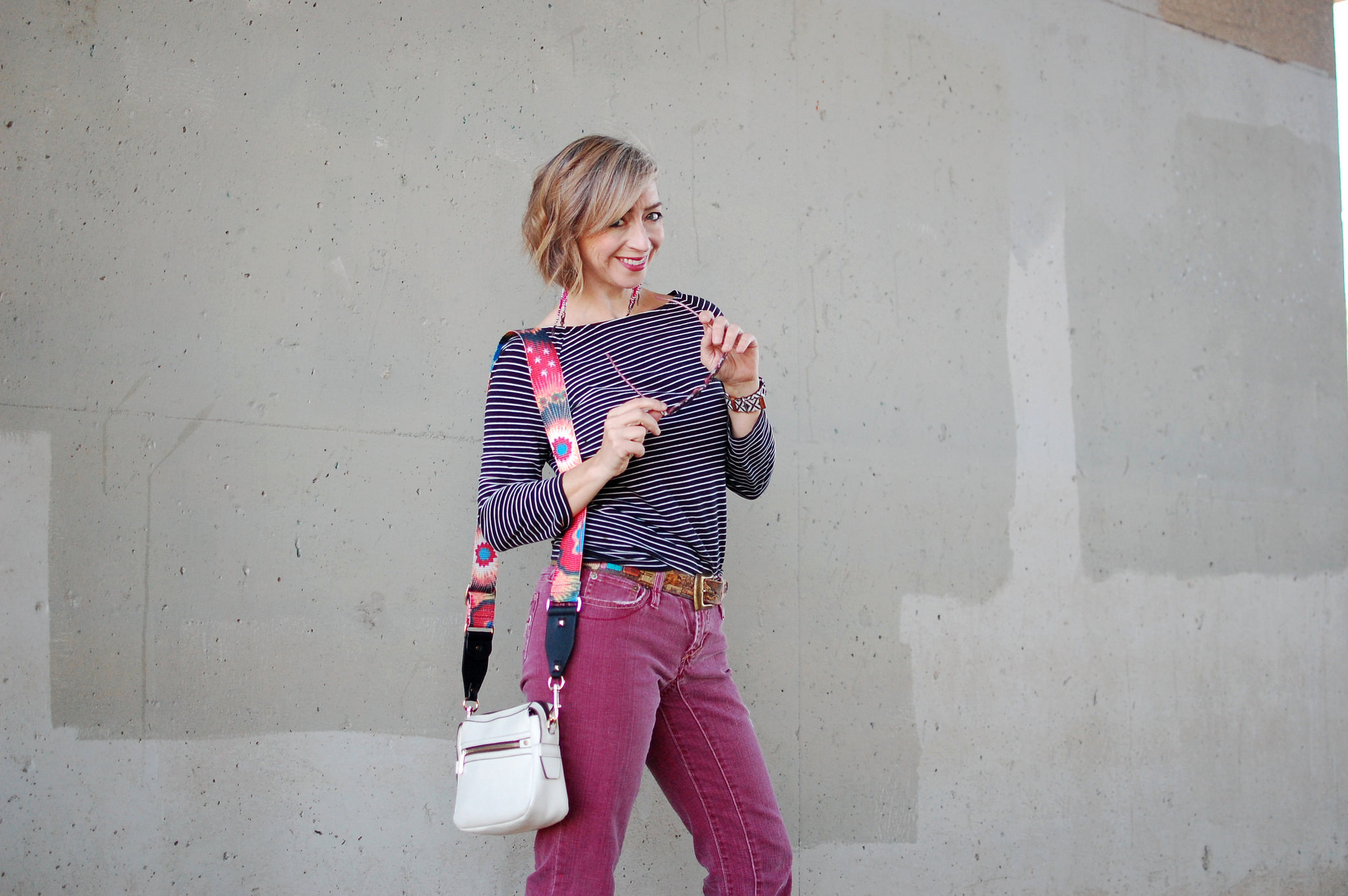 pink jeans black and white striped shirt daily outfit blog ootd whatiwore2day