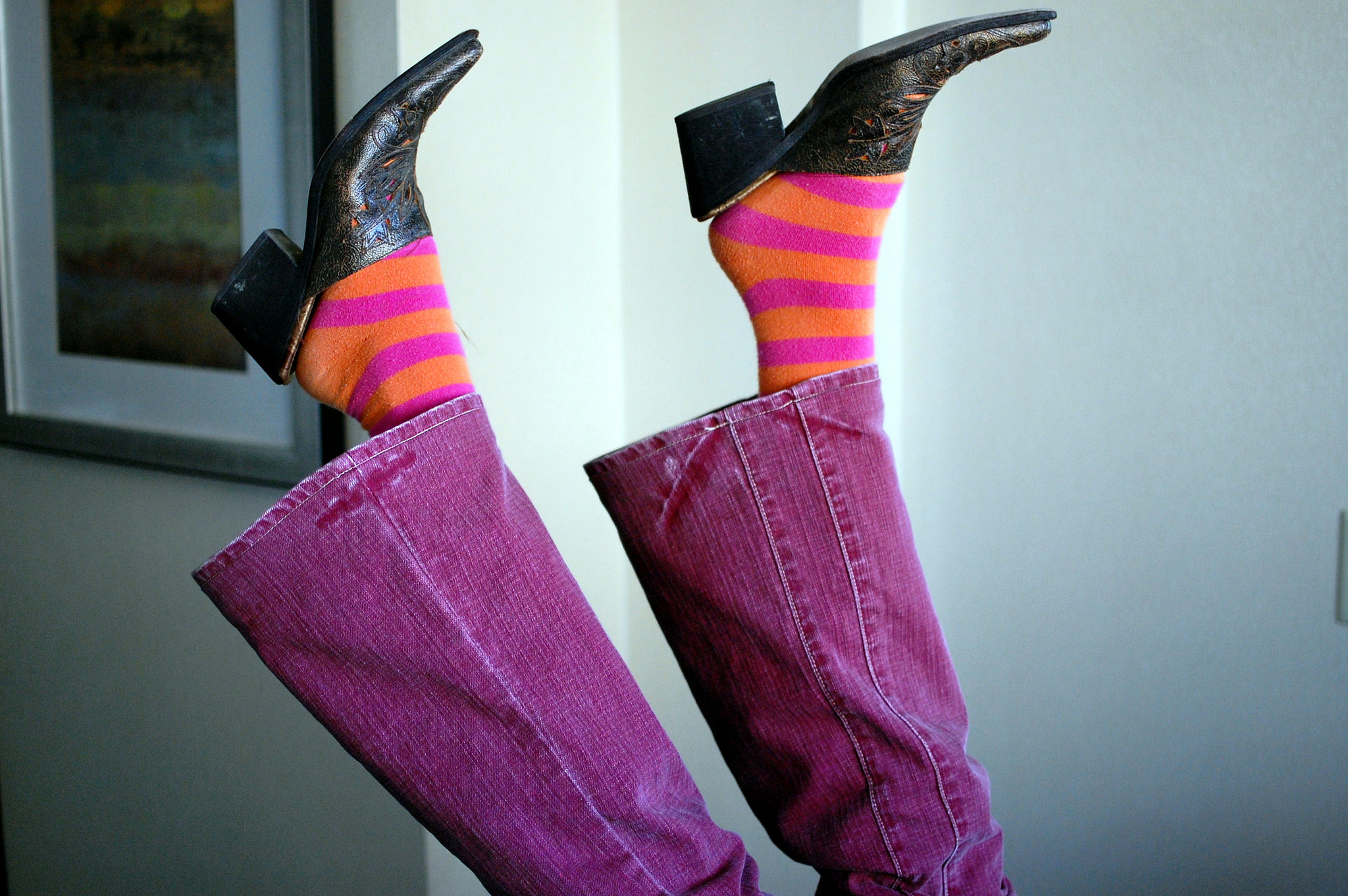 pink orange striped socks pink flare leg jeans mules daily outfit blog ootd whatiwore2day
