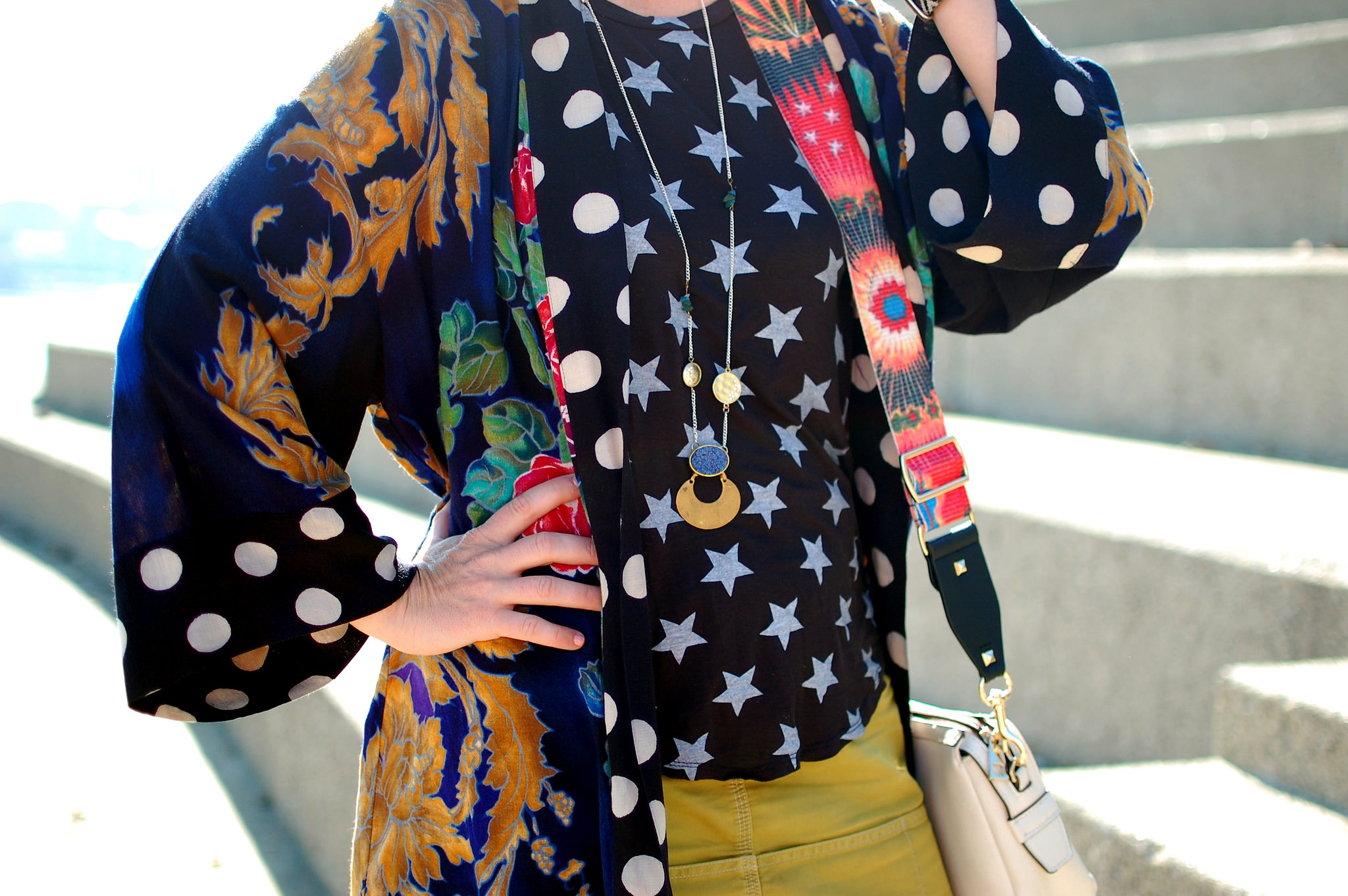 star floral kimono pattern mix daily outfit blog ootd whatiwore2day