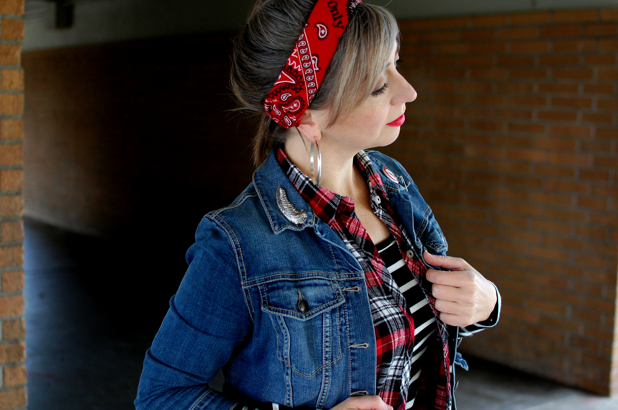bandana headband french braid dirty hair daily outfit blog whatiwore2day ootd