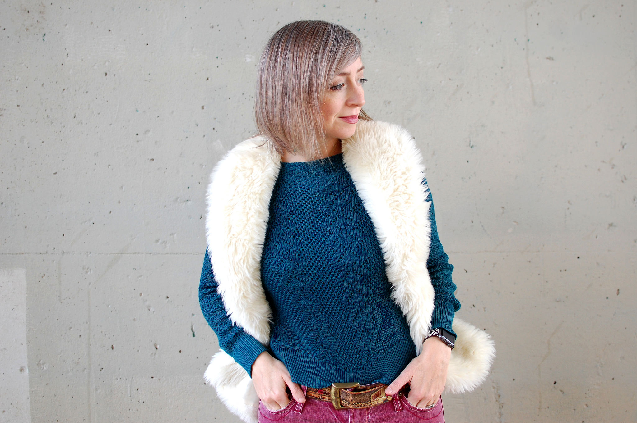 faux fur vest pink jeans daily outfit blog ootd whatiwore2day